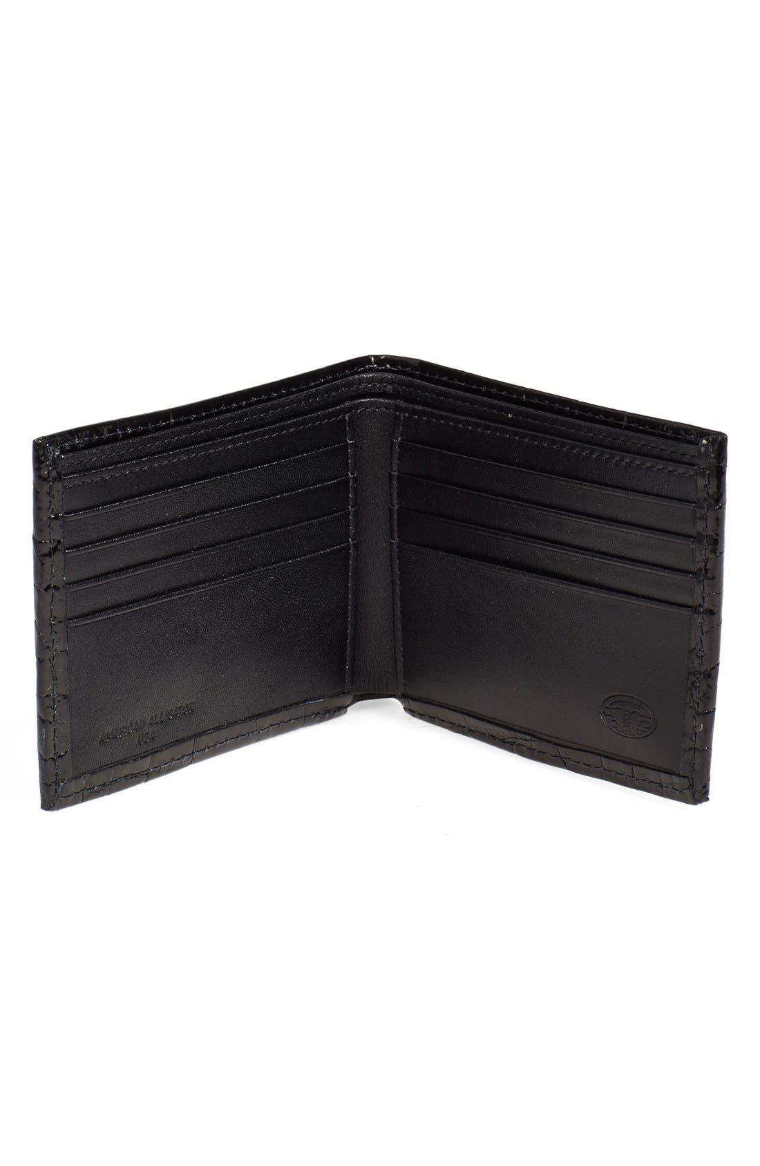 Genuine Alligator Wallet,                             Alternate thumbnail 3, color,                             Black