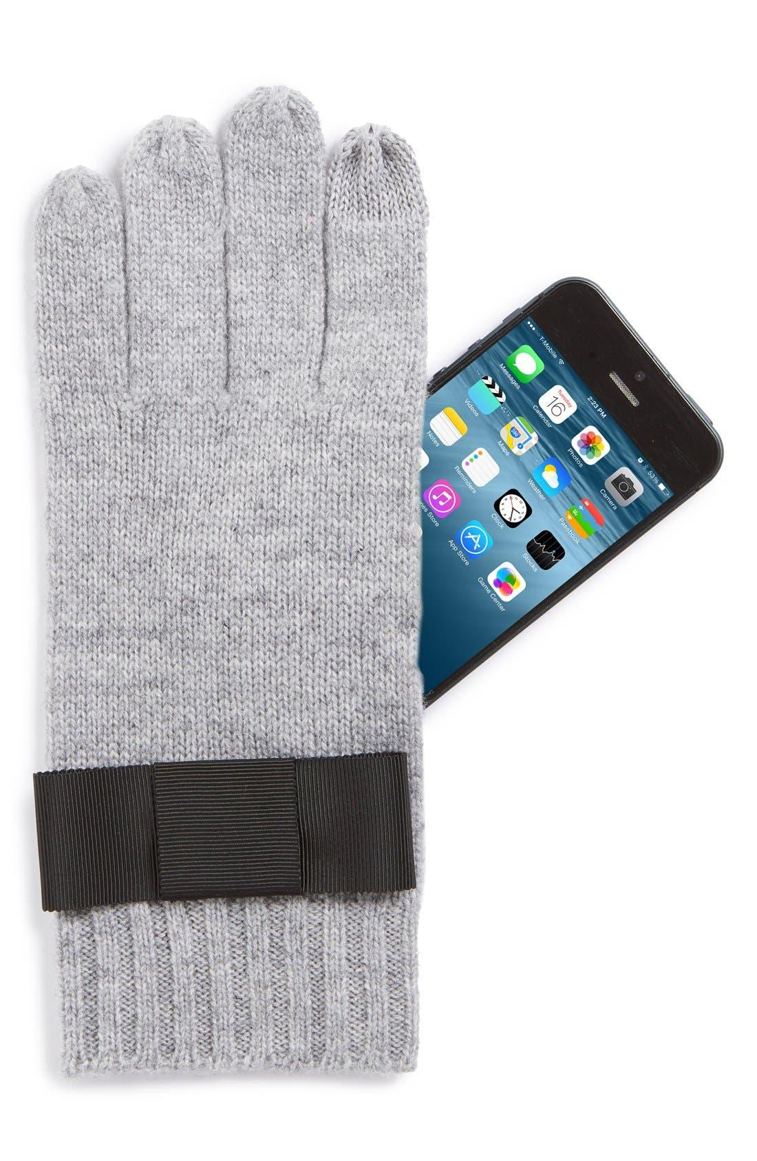 Alternate Image 2  - kate spade new york grosgrain bow knit tech gloves