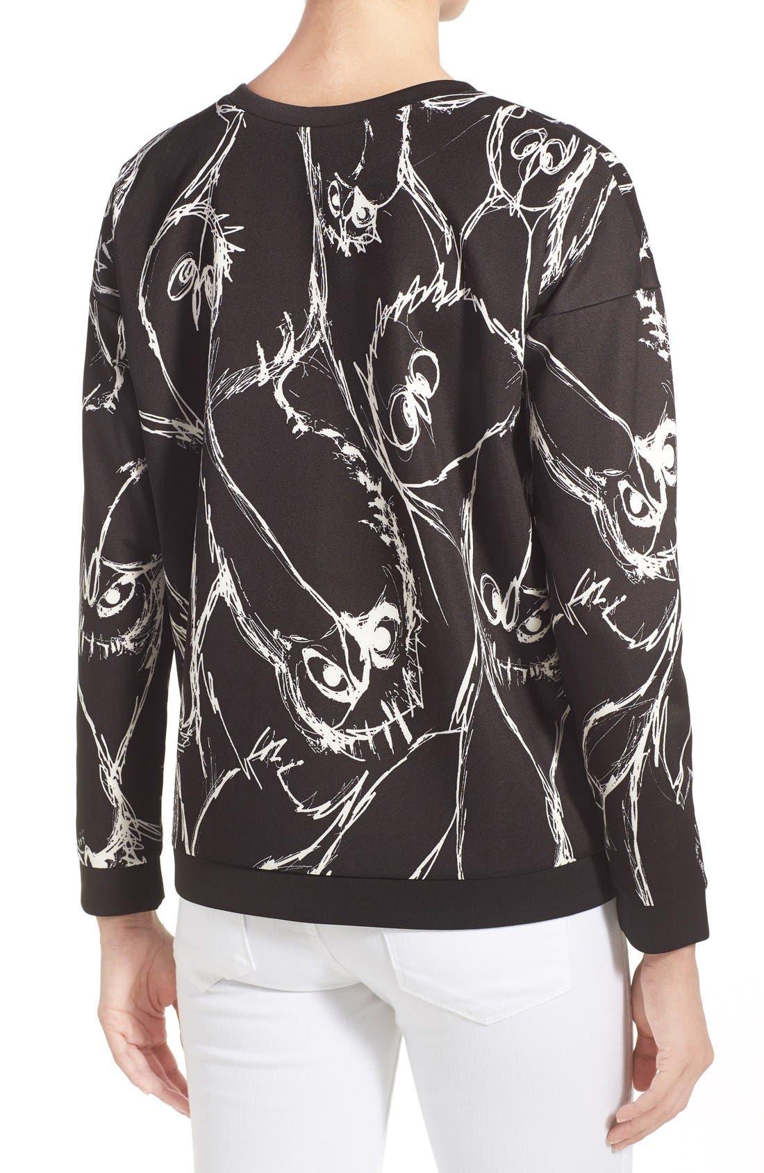 Alternate Image 2  - kensie Sketched Bird Print Sweatshirt