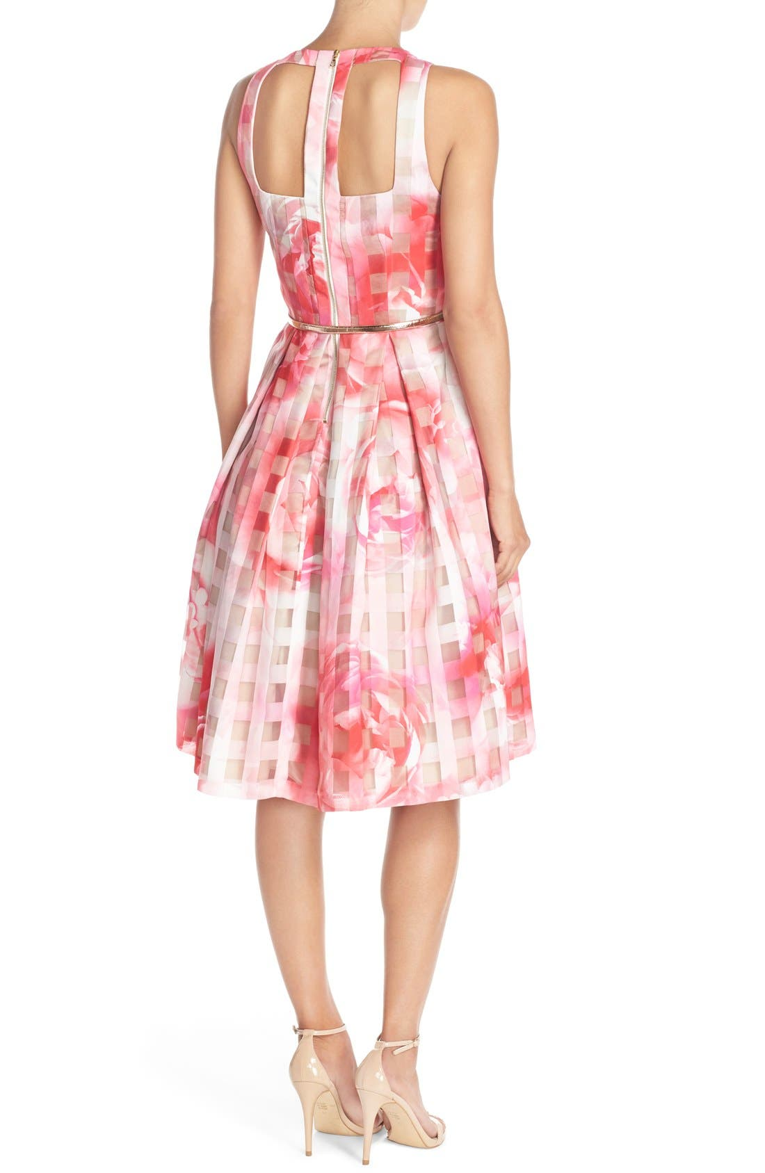 Floral Organza Fit & Flare Dress,                             Alternate thumbnail 2, color,                             Pink Print