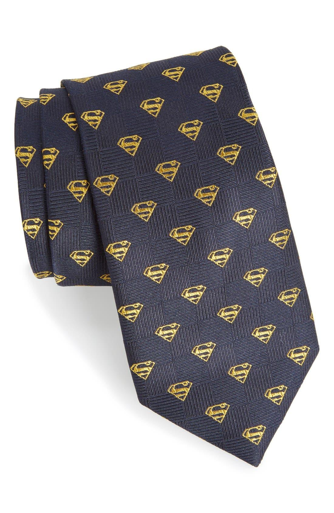 'Superman Shield' Silk Tie,                             Main thumbnail 1, color,                             Blue