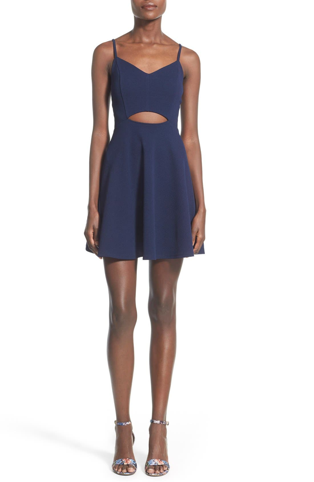 Alternate Image 1 Selected - Soprano Front Cutout Skater Dress