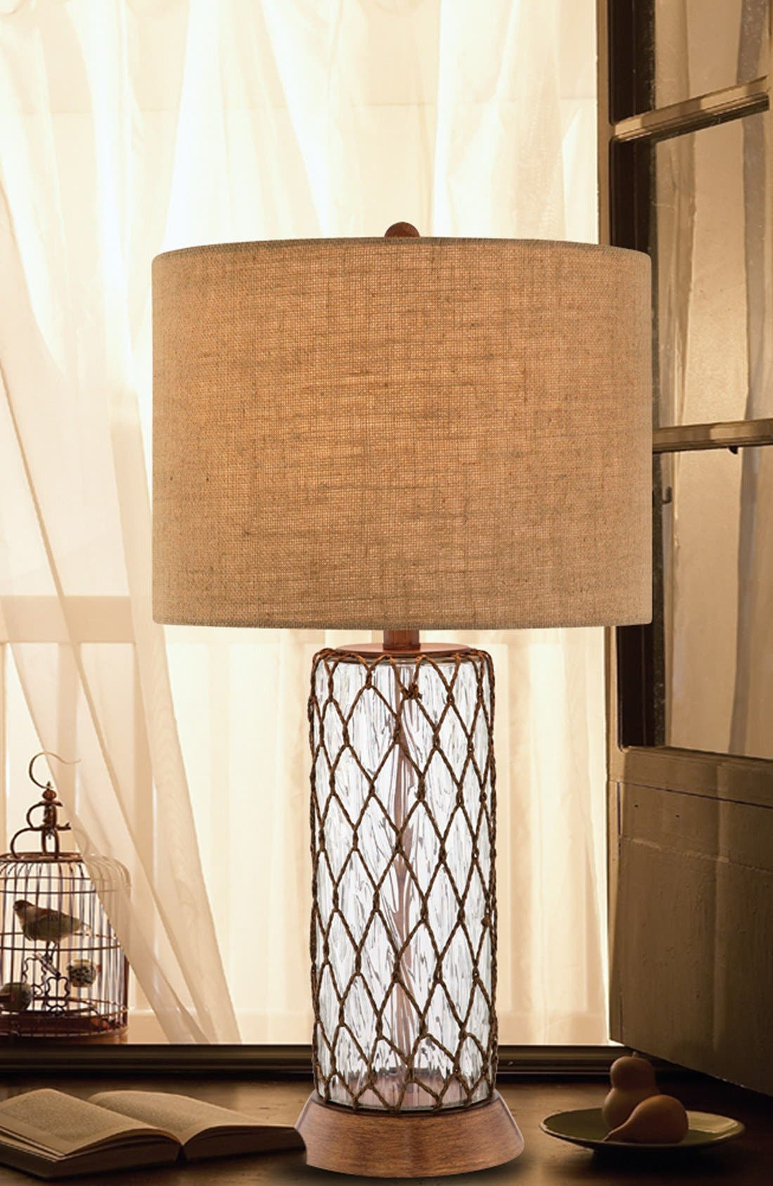 Clear Glass Table Lamp,                             Alternate thumbnail 2, color,                             Clear Glass/ Bronze Finish