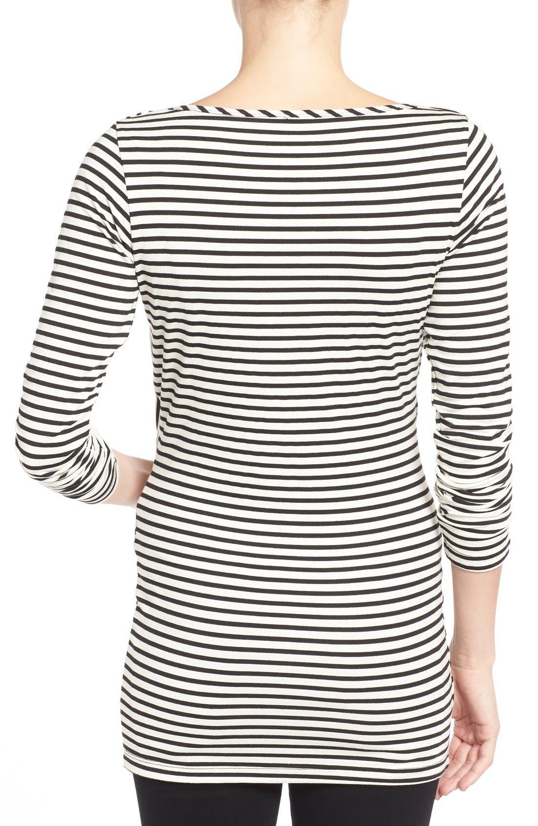 'Anne' Drape Neck Nursing Top,                             Alternate thumbnail 2, color,                             Black/ White Stripe
