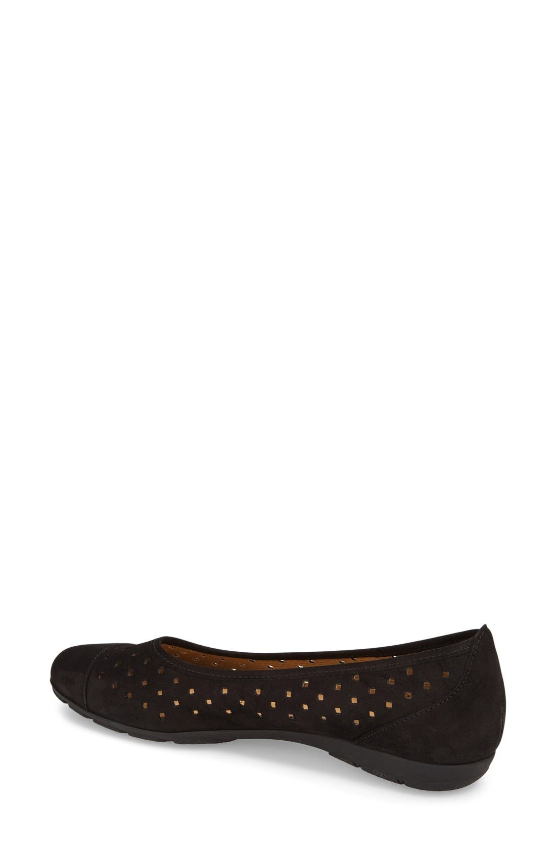 Perforated Ballet Flat,                             Alternate thumbnail 2, color,                             Black Nubuck
