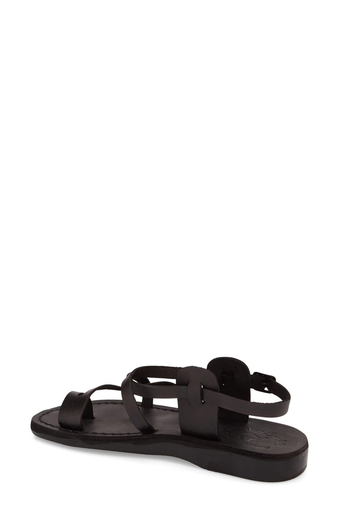 'The Good Shepard' Strappy Sandal,                             Alternate thumbnail 2, color,                             Black Leather