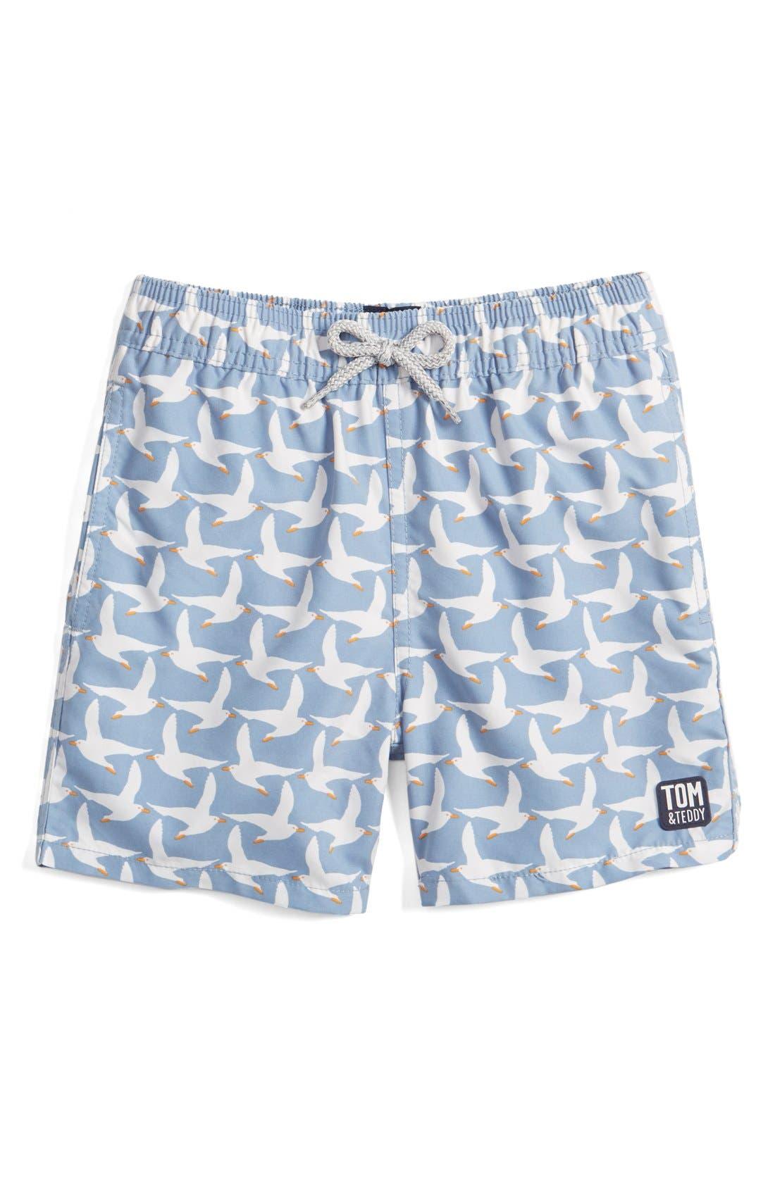 Tom & Teddy 'Pattern Seagulls' Swim Trunks (Toddler Boys, Little Boys & Big Boys)