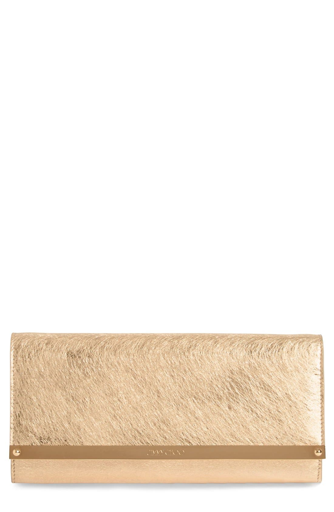 'Milla' Etched Metallic Spazzolato Leather Flap Clutch,                             Main thumbnail 1, color,                             Gold