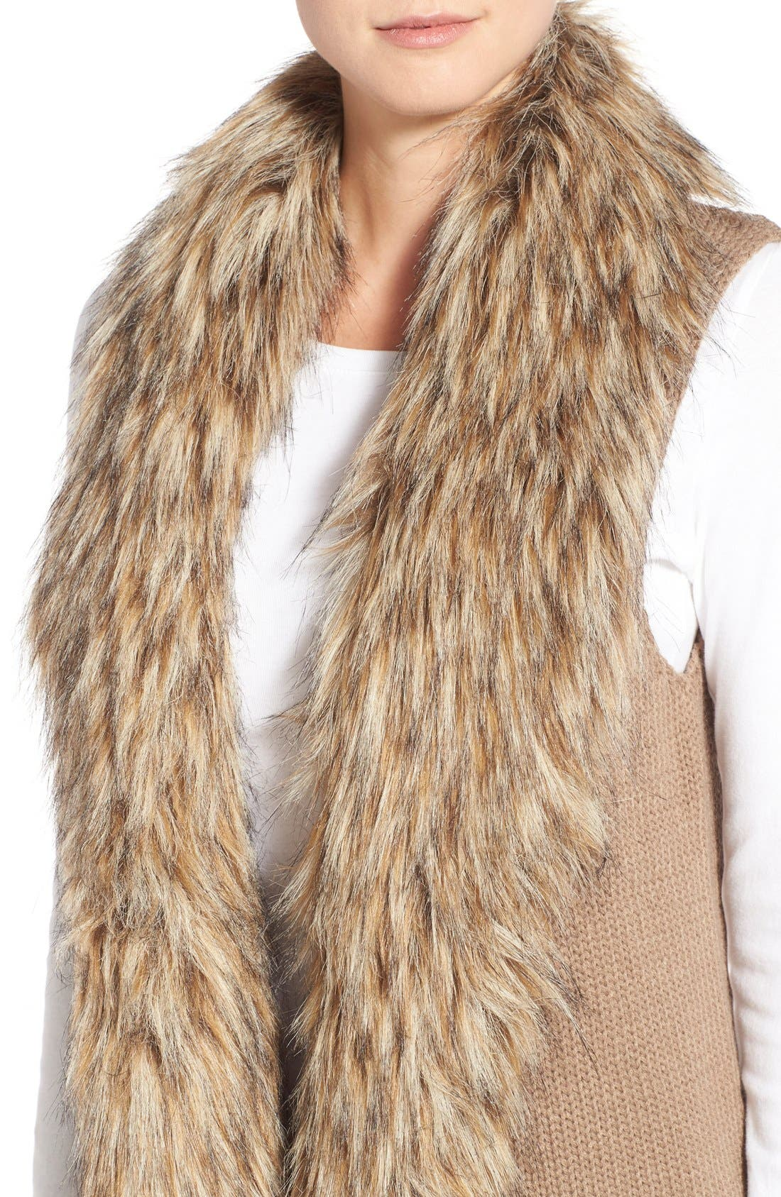 Alternate Image 3  - BB Dakota 'Sadi' Faux Fur Trim Knit Vest