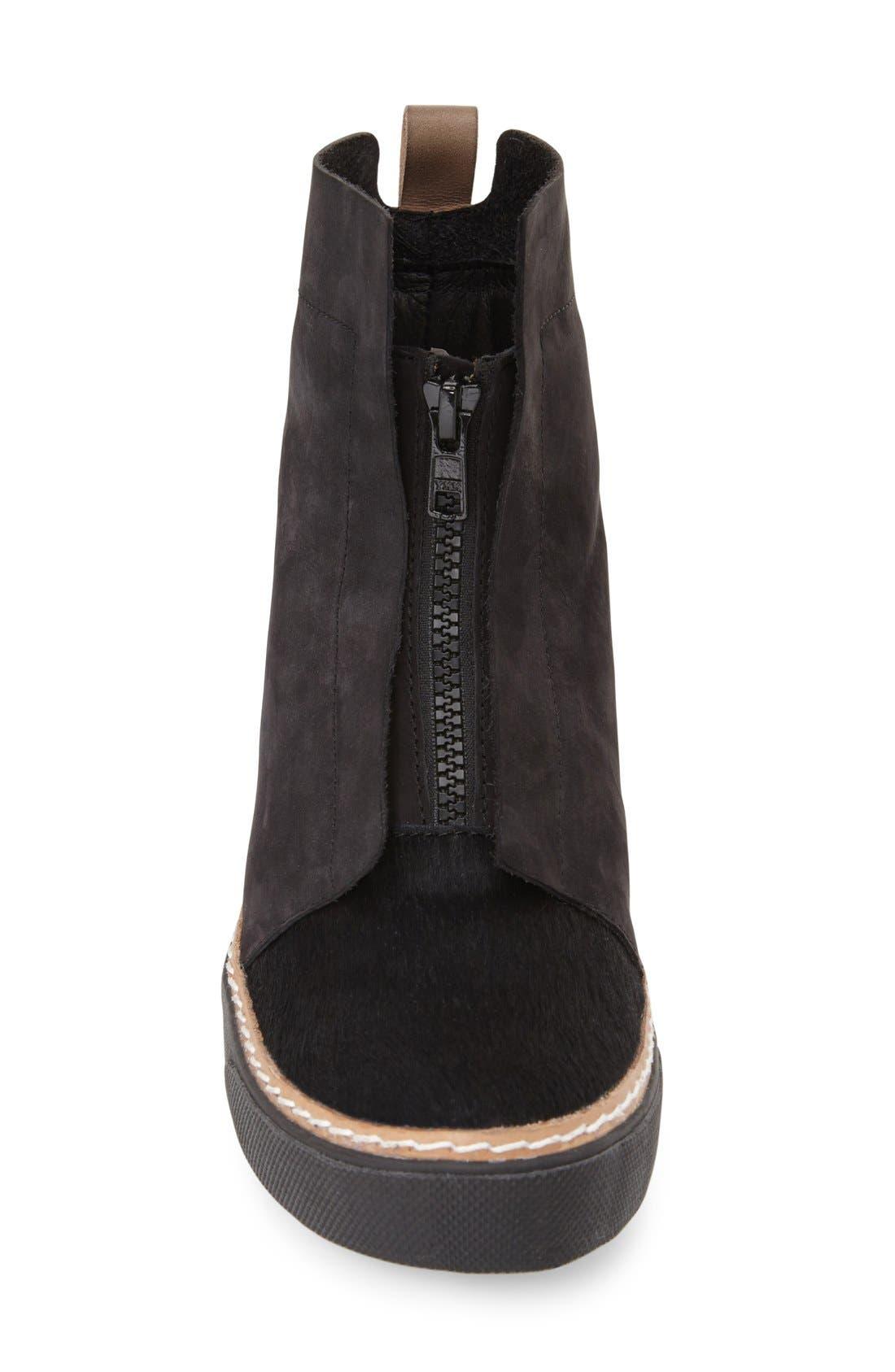 Genuine Calf Hair Zip Chukka Boot,                             Alternate thumbnail 3, color,                             Black Leather