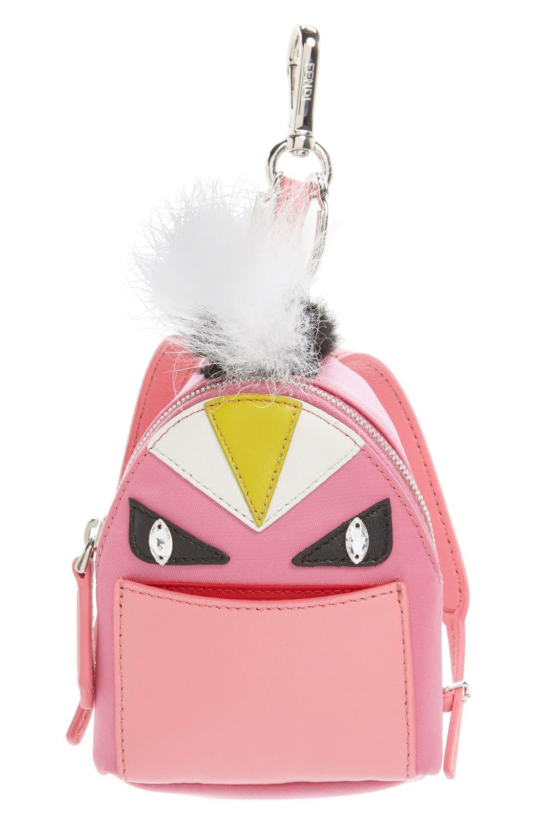 FENDI Monster Genuine Fox & Nutria Fur Trim Backpack Bag Charm