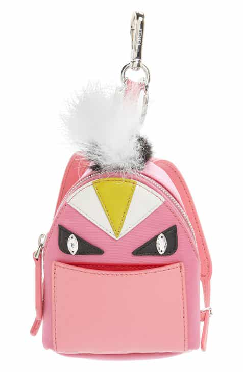 Fendi  Monster  Genuine Fox   Nutria Fur Trim Backpack Bag Charm d61f686894947