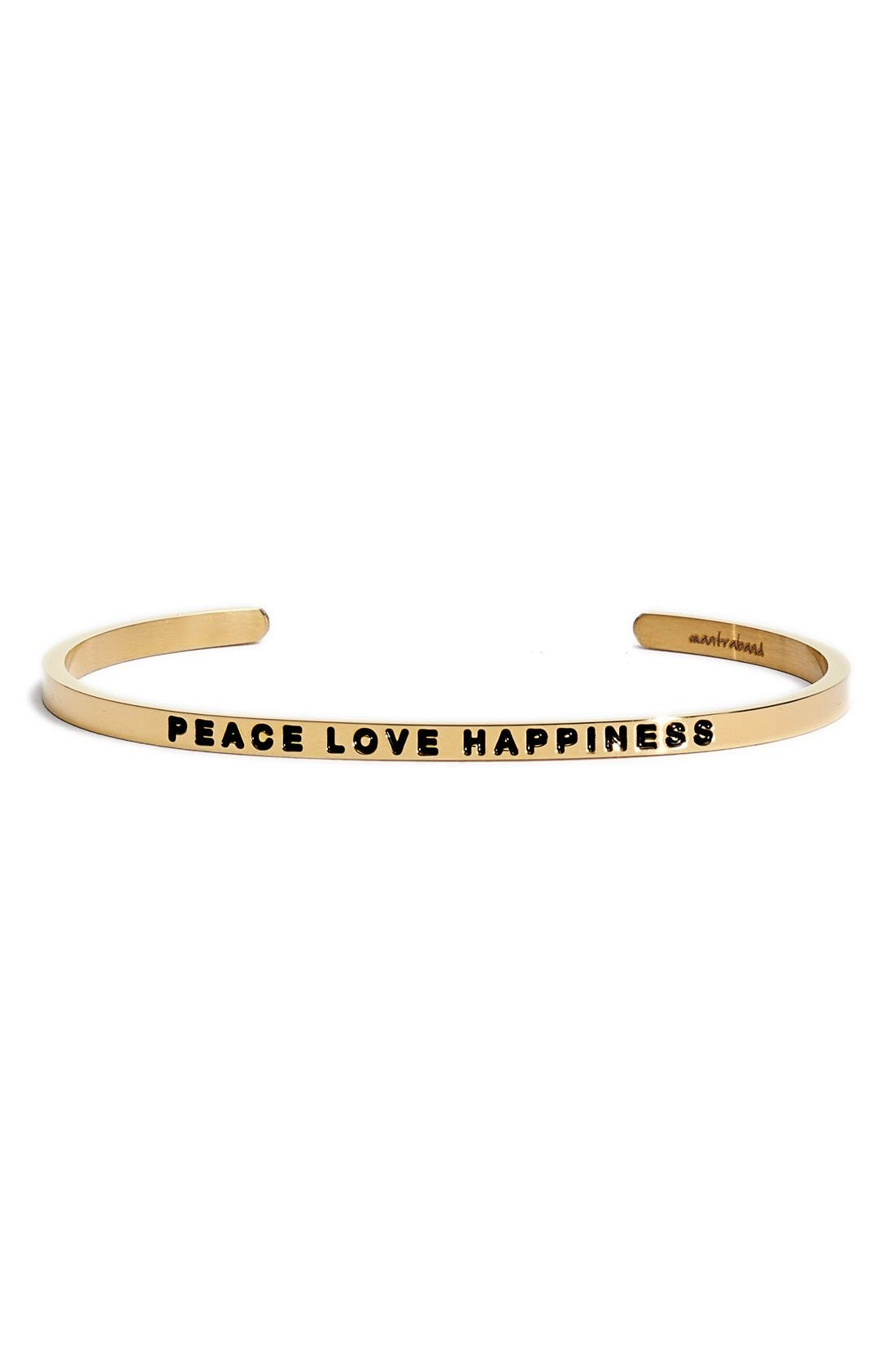 """""""Peace Love Happiness"""" Cuff,                             Main thumbnail 1, color,                             Gold"""