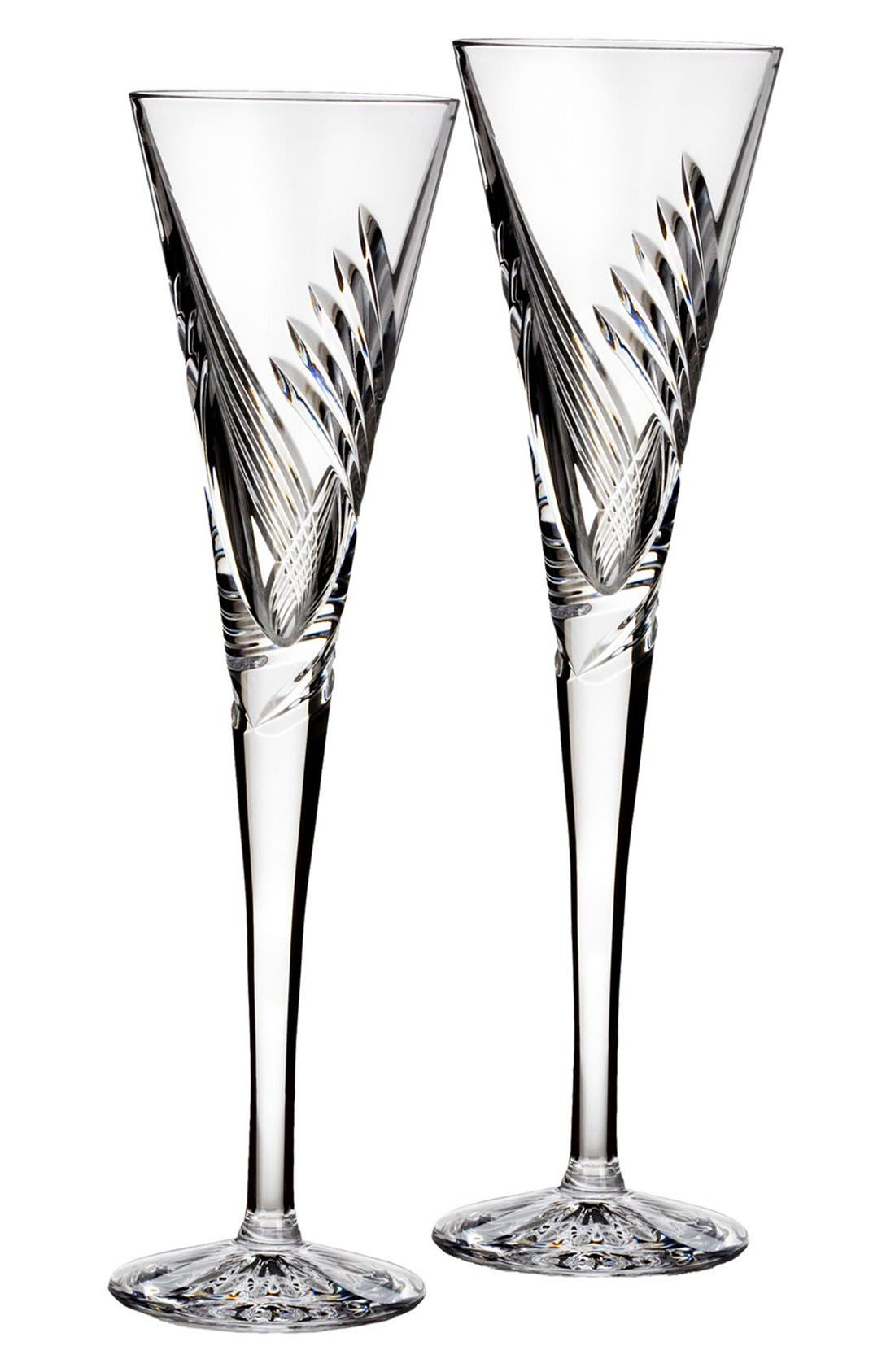 'Wishes Beginnings' Lead Crystal Toasting Flutes,                         Main,                         color, Clear