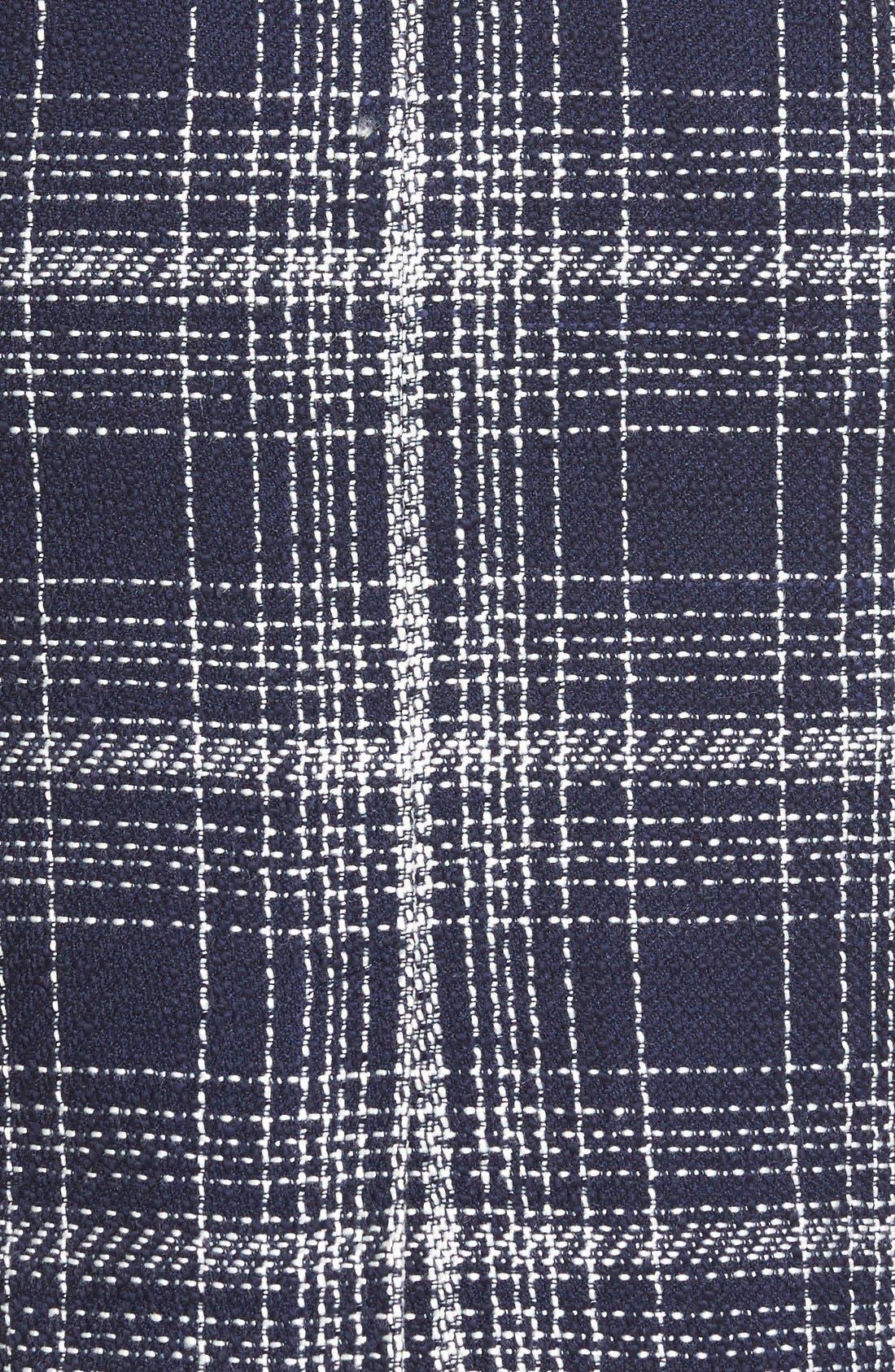 Flap Pocket Tweed Pencil Skirt,                             Alternate thumbnail 6, color,                             Navy Tweed
