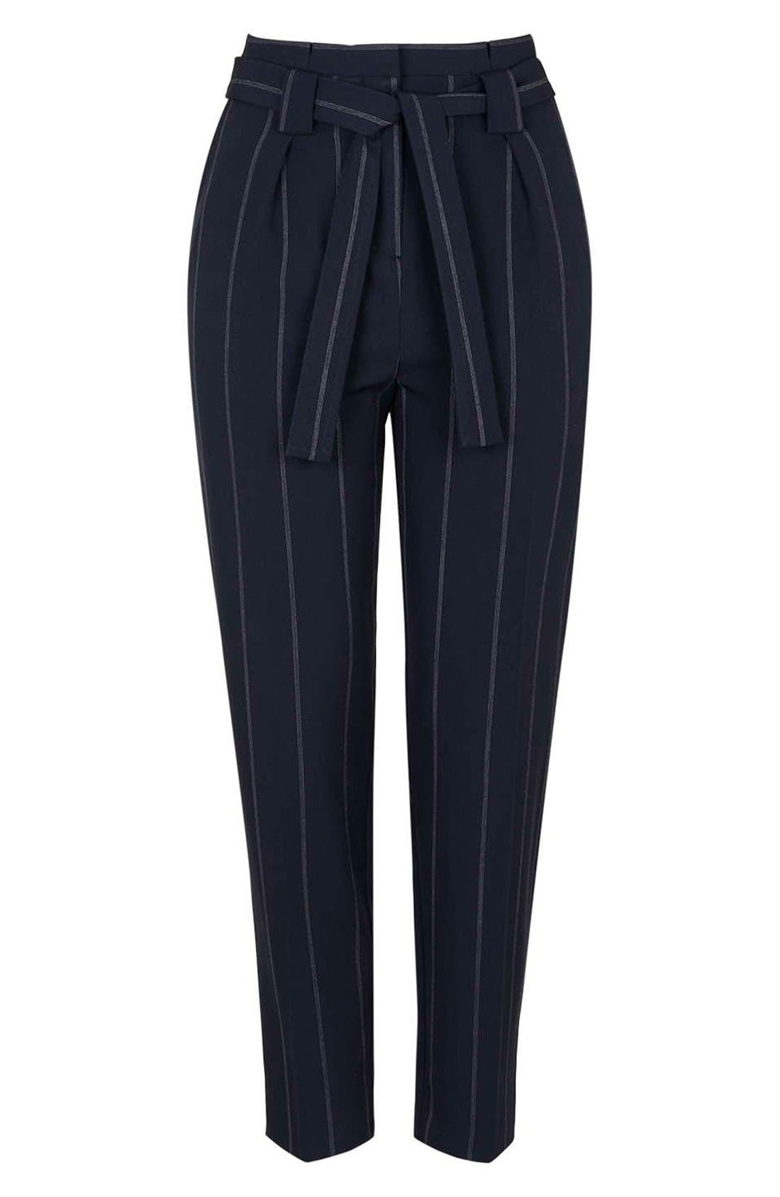 Alternate Image 4  - Topshop Belted Pinstripe Pants (Regular & Petite)
