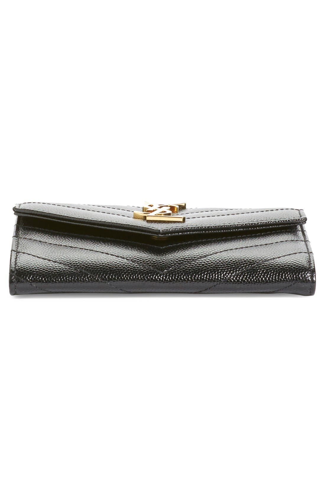 'Monogram' Quilted Leather French Wallet,                             Alternate thumbnail 5, color,                             Noir