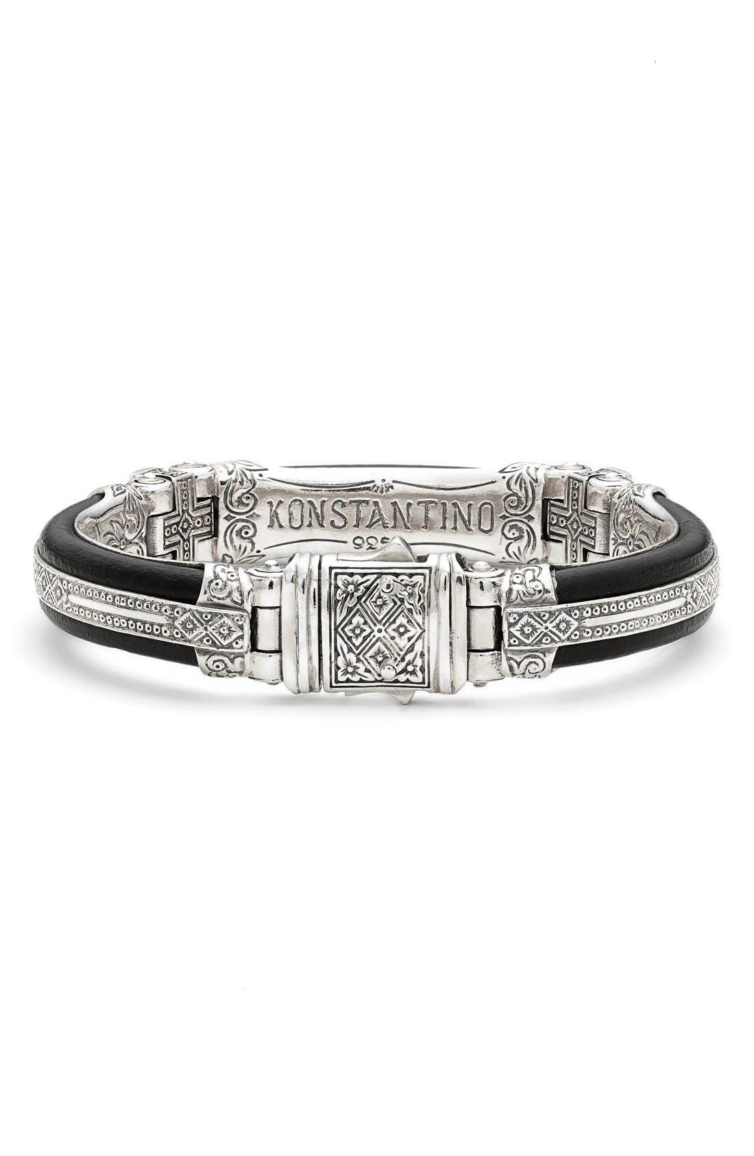 Plato Etched Sterling Silver & Leather Bracelet,                             Alternate thumbnail 2, color,                             Silver