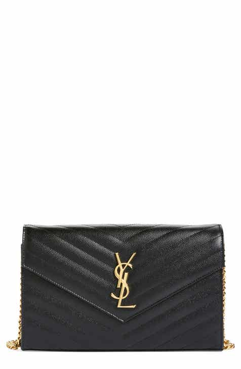 a3a705f29f6 Saint Laurent Large Monogram Quilted Leather Wallet on a Chain