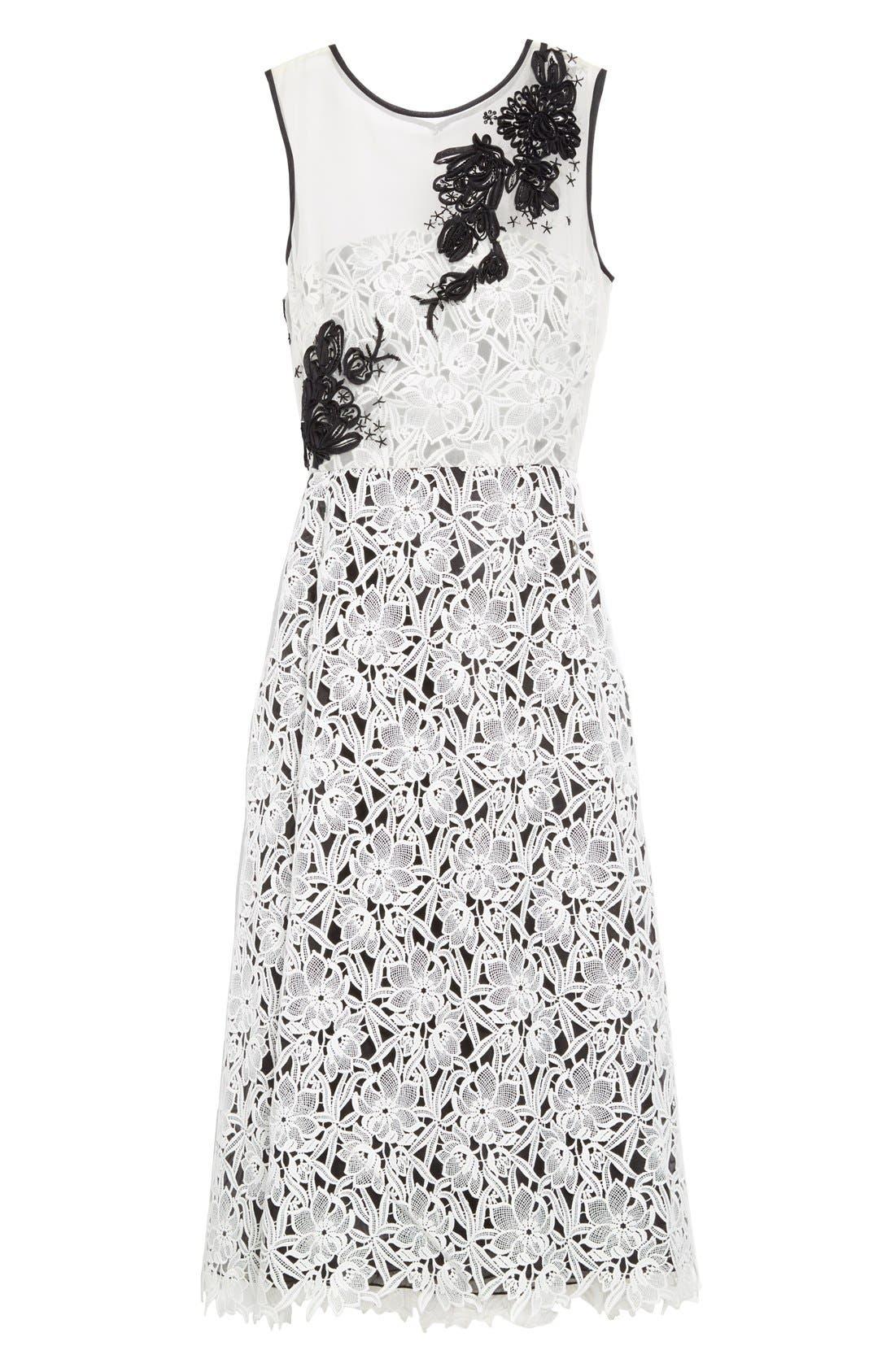 Alternate Image 4  - Oscar de la Renta Embellished Floral Lace Dress