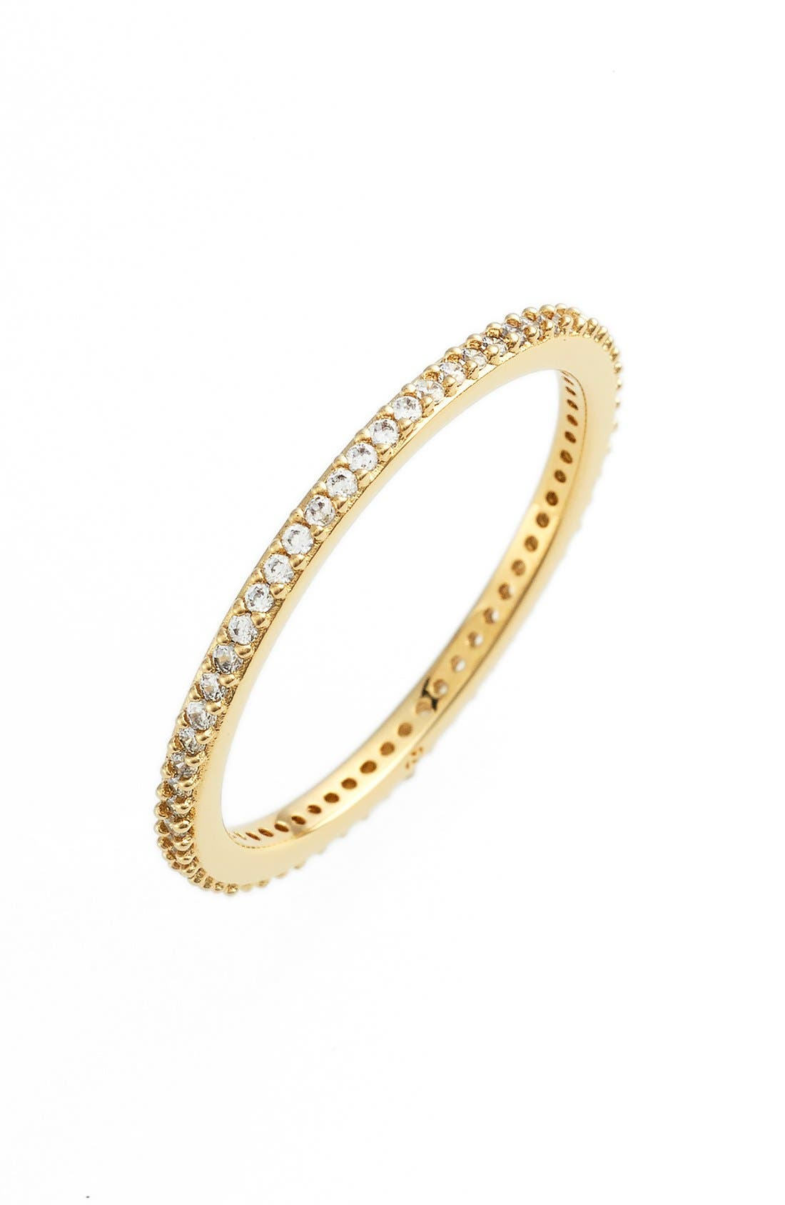 Skinny Cubic Zirconia Pavé Band Ring,                             Main thumbnail 1, color,                             Gold