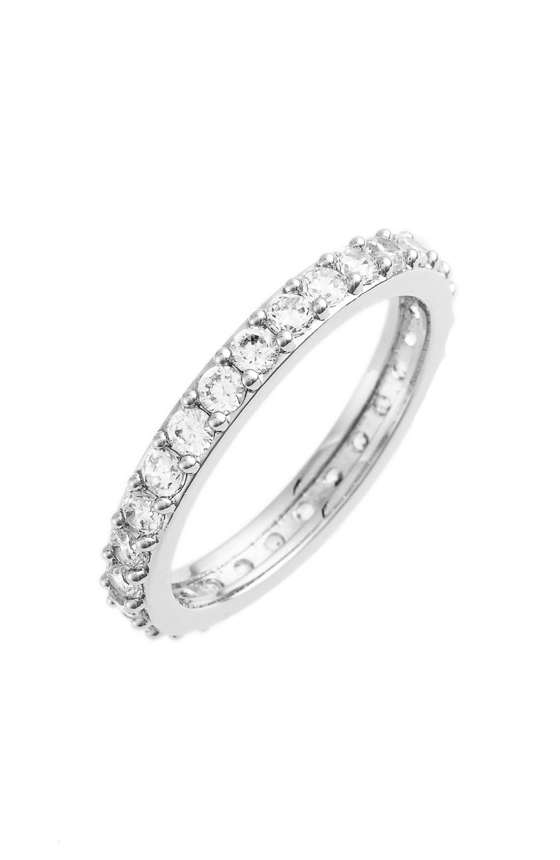 Cubic Zirconia Pavé Band Ring,                             Main thumbnail 1, color,                             Silver