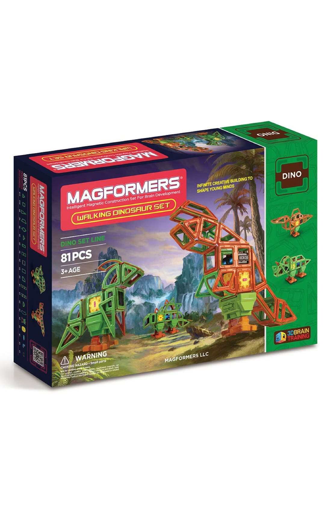'Walking Dinosaur' Wind-Up Toy Magnetic Construction Set,                         Main,                         color, Green/ Brown