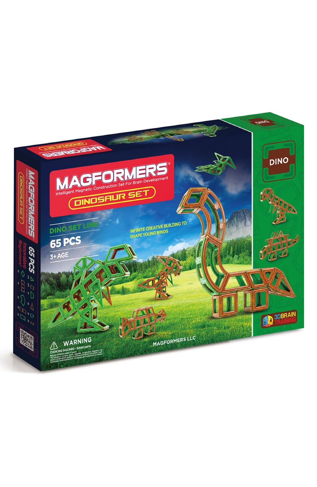 'Dinosaur' Magnetic Construction Set,                         Main,                         color, Green/ Brown