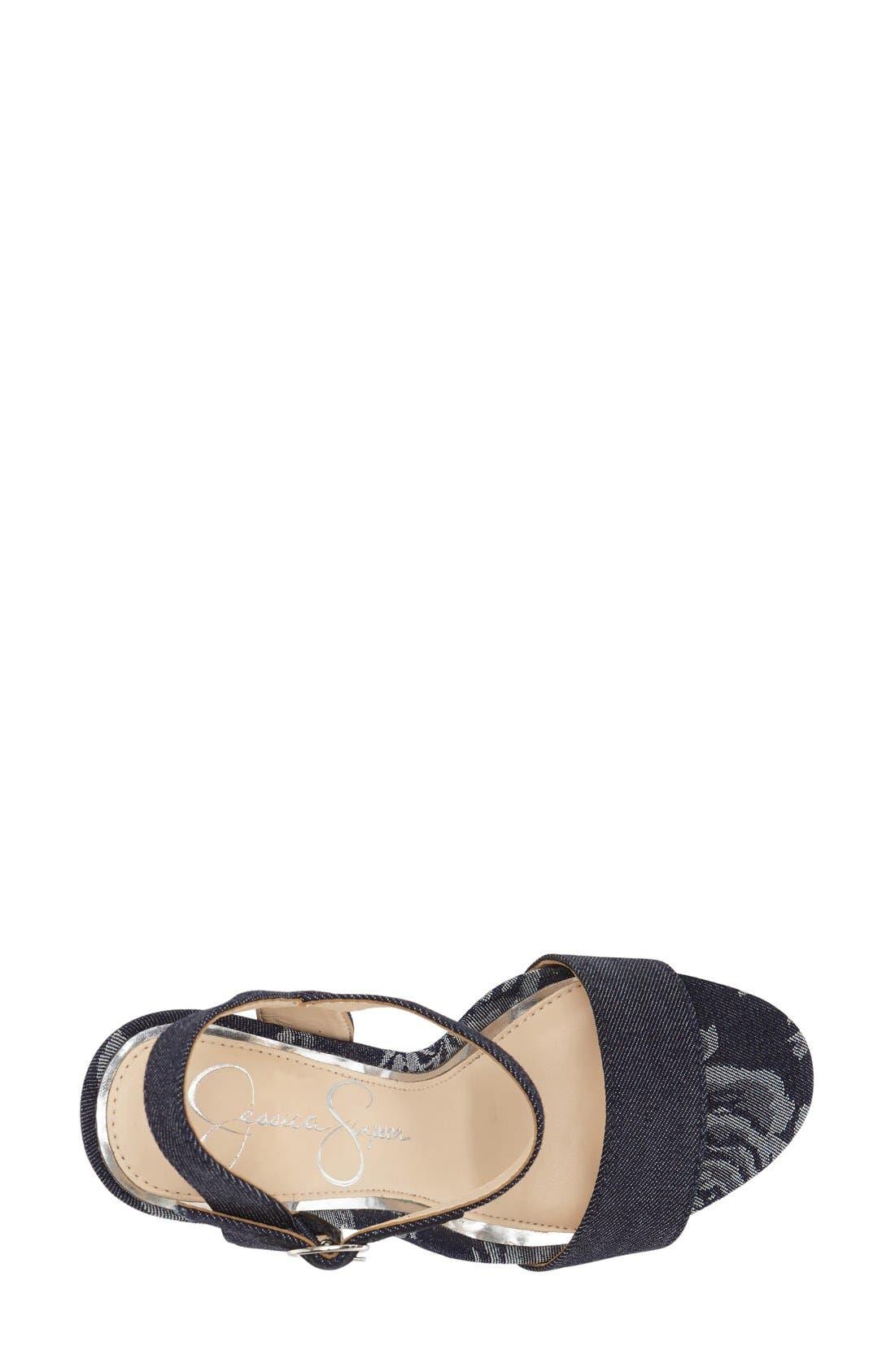 'Blaney' Platform Sandal,                             Alternate thumbnail 3, color,                             Indigo/ Indigo Fabric