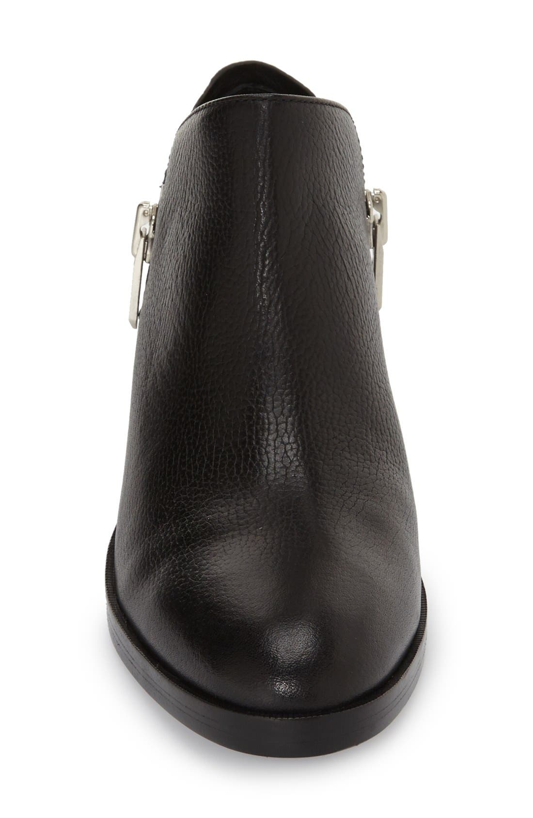 Alexa Zip Bootie,                             Alternate thumbnail 3, color,                             Black Leather