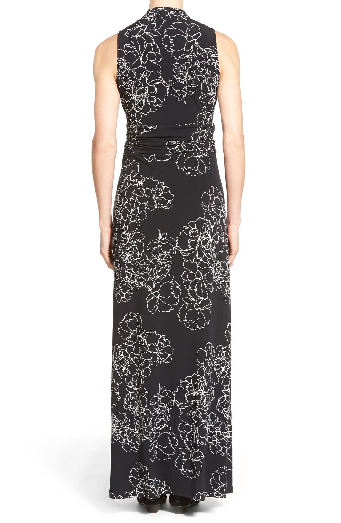Floral Print Jersey Maxi Dress,                             Alternate thumbnail 2, color,                             Rich Black