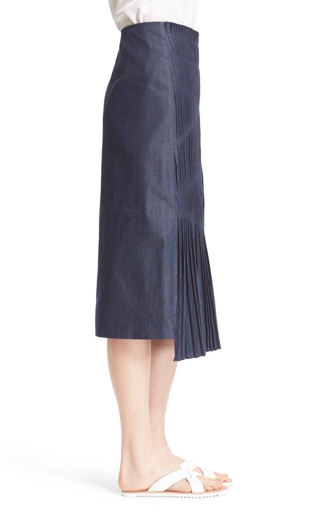 'Manuela' Pleated Cotton Midi Skirt,                             Alternate thumbnail 3, color,                             Steel Denim