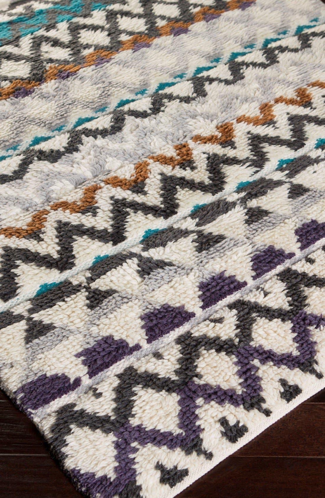 'Atticus' Hand Woven Wool Rug,                             Alternate thumbnail 2, color,                             Violet/ Charcoal Multi