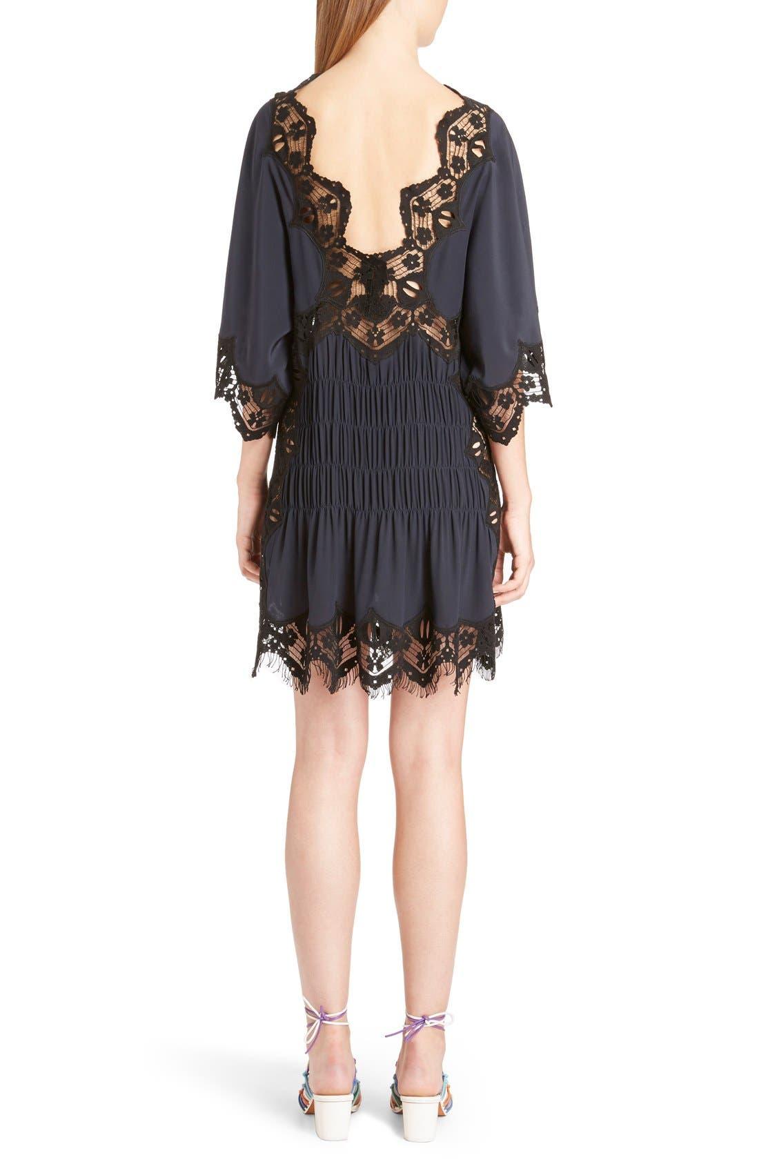 Alternate Image 2  - Chloé Smocked Scalloped Lace Trim Silk Dress