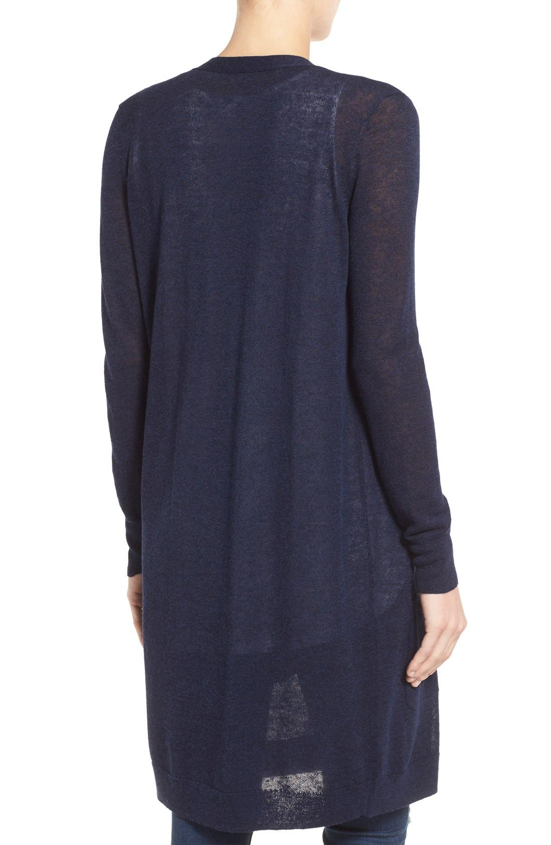 Alternate Image 2  - Halogen® Long Linen Blend Cardigan (Regular & Petite)
