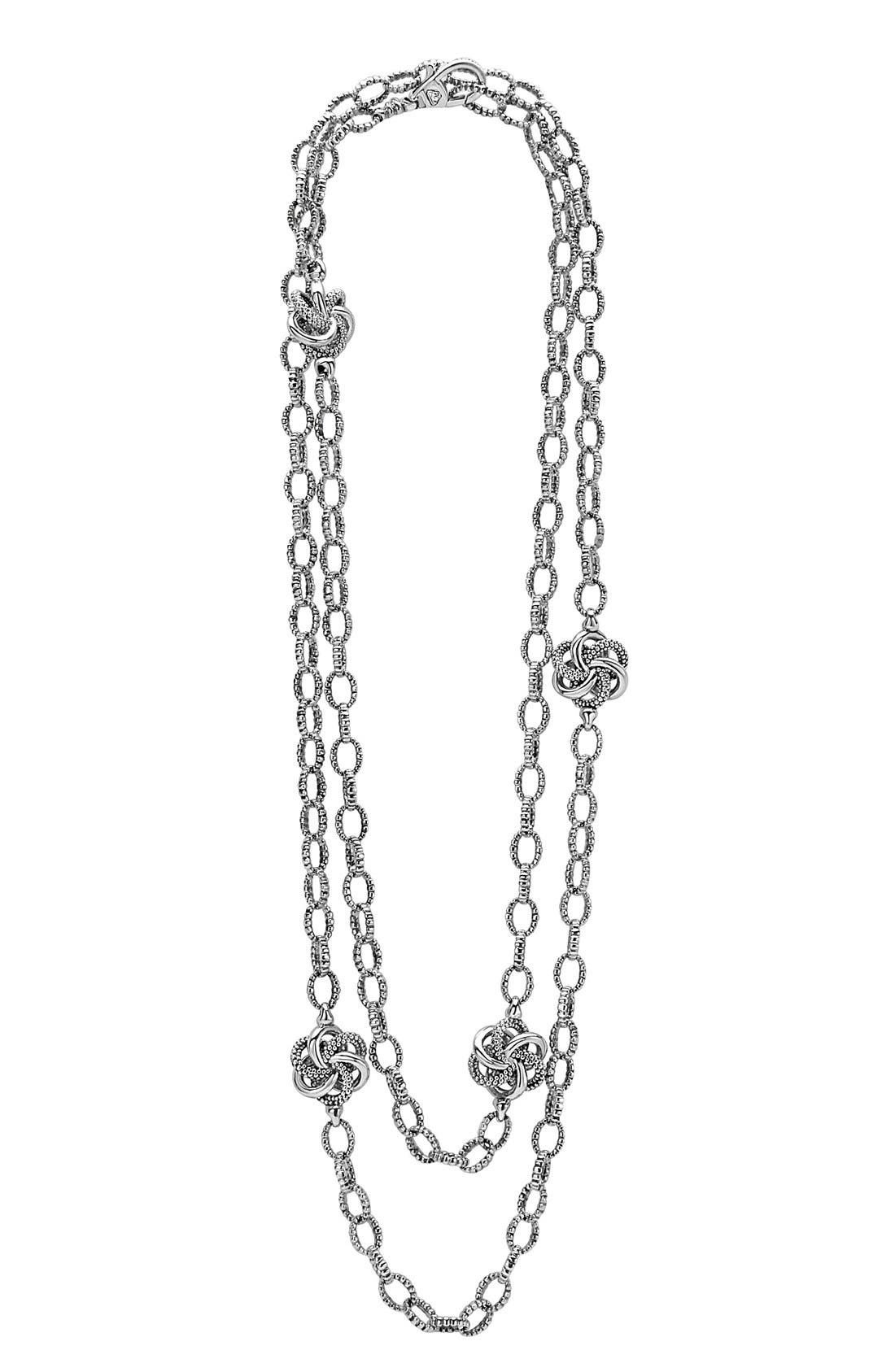 'Love Knot' Link Necklace,                         Main,                         color, Sterling Silver