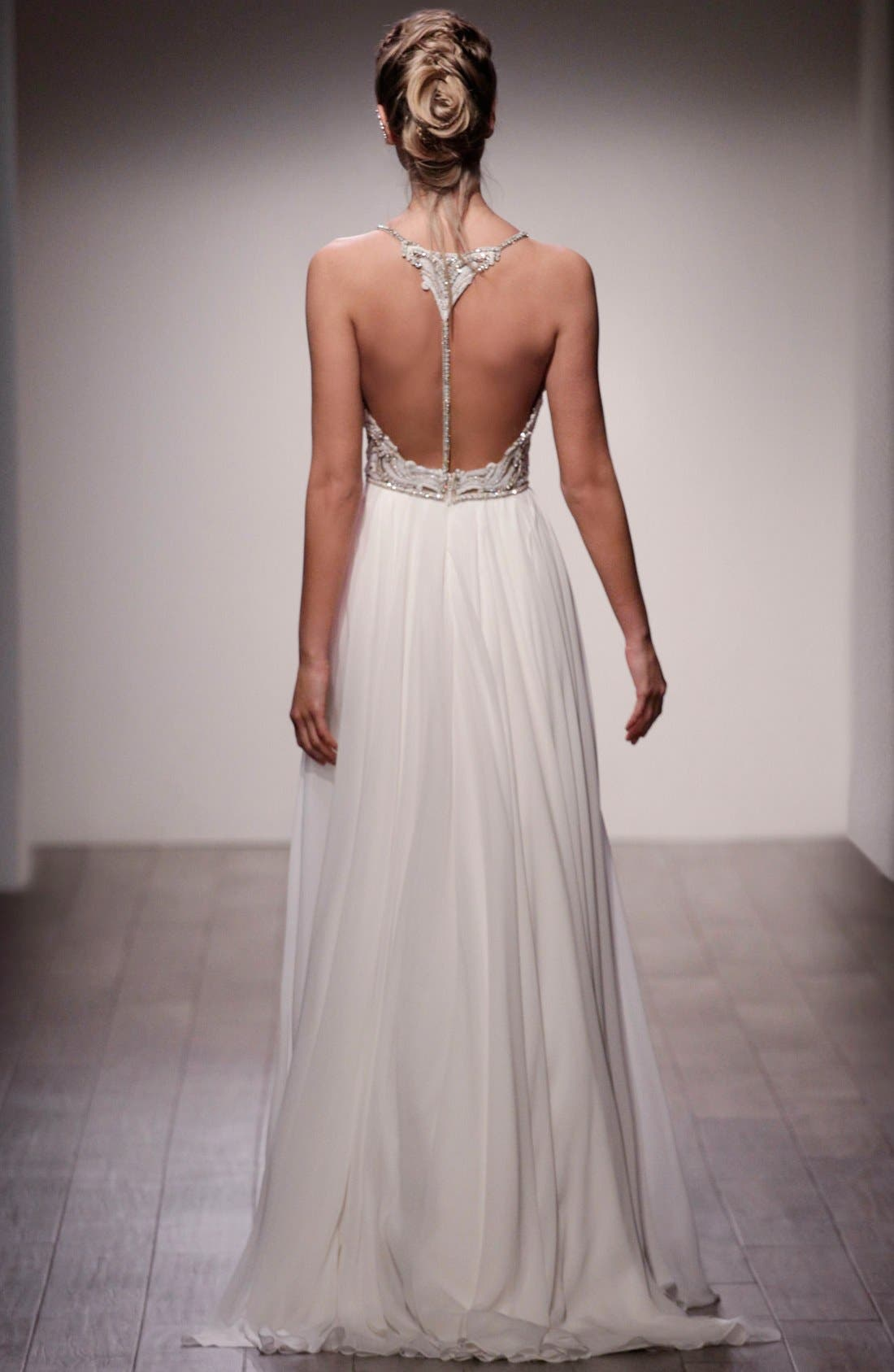 Teresa T-Strap Back Embellished Chiffon A-Line Gown,                             Alternate thumbnail 2, color,                             Ivory Nude