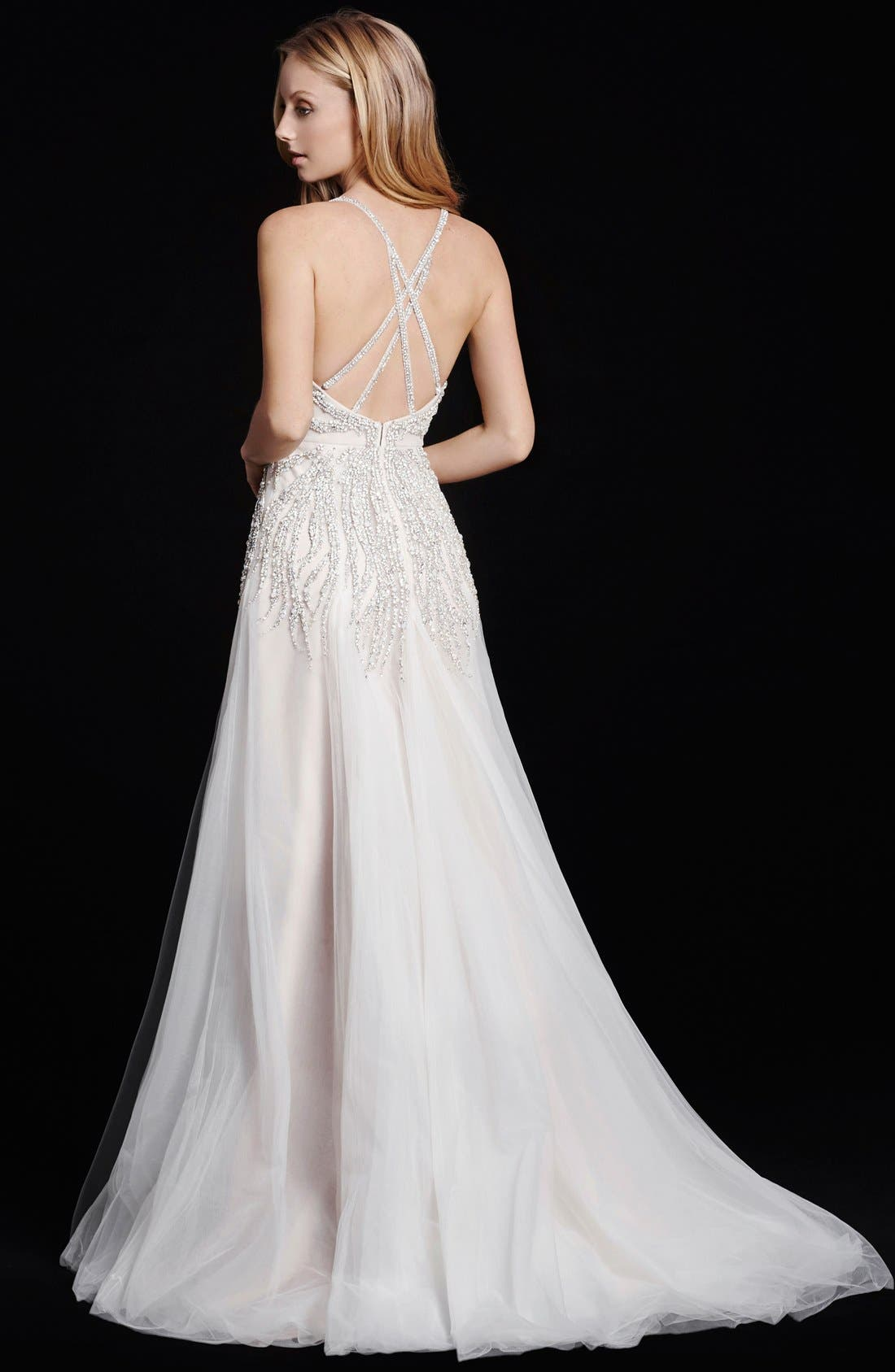 Alternate Image 2  - Hayley Paige Comet Embellished Bodice A-Line Tulle Gown