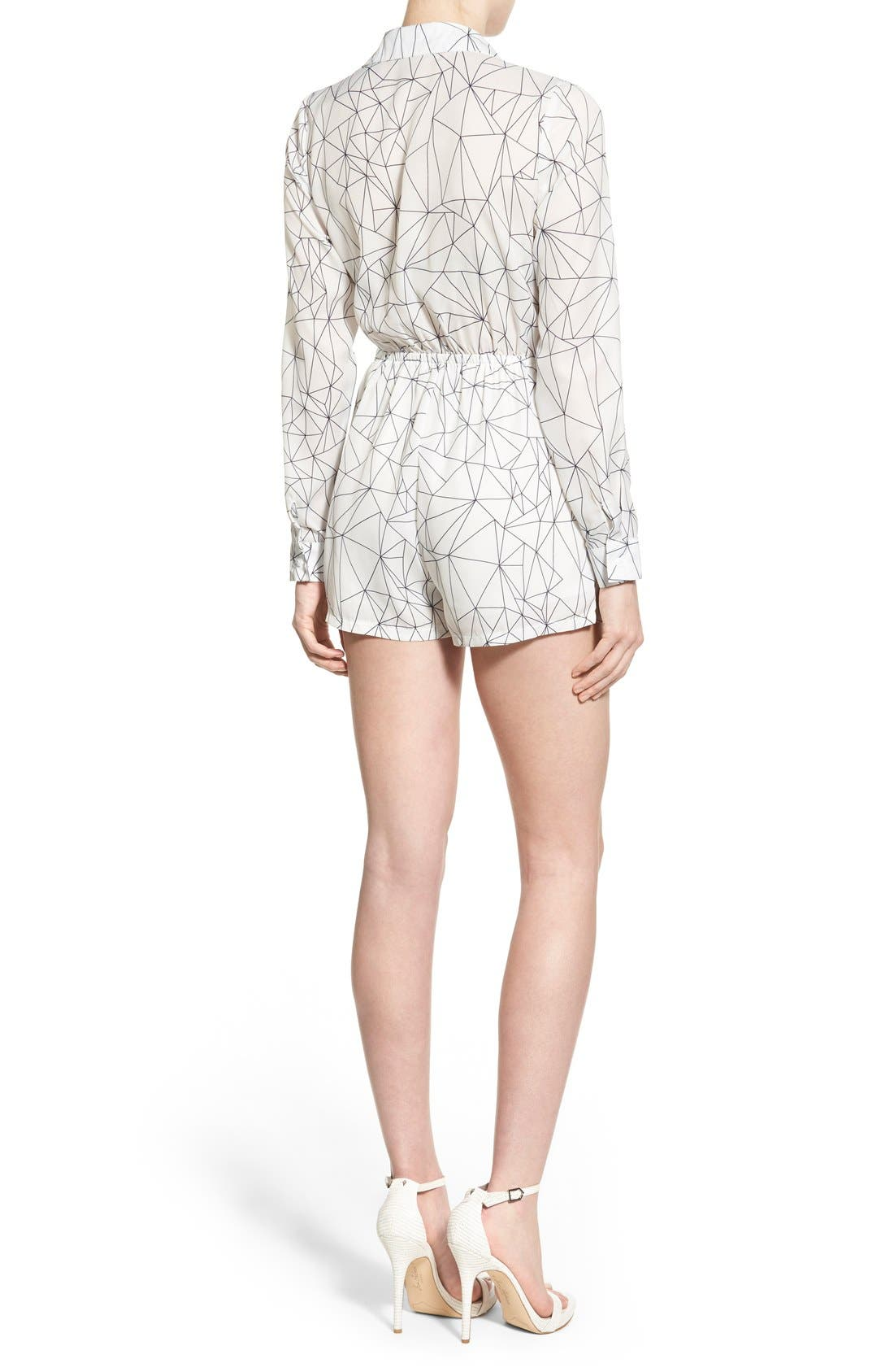 Alternate Image 2  - Missguided Geo Print Wrap Front Romper