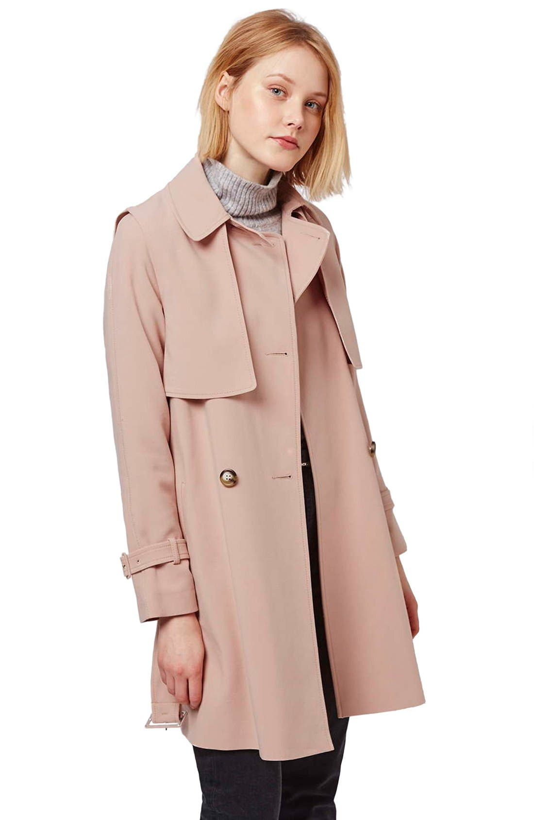 Tailored Double Breasted Coat,                             Alternate thumbnail 5, color,                             Light Pink