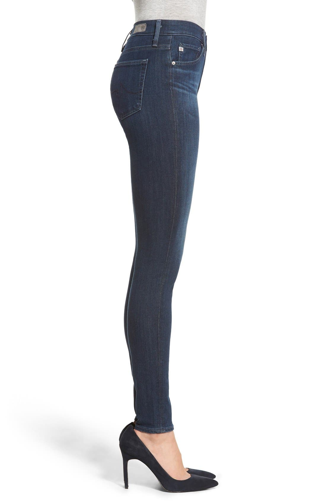 Alternate Image 3  - AG 'The Farrah' High Rise Skinny Jeans (Crater)
