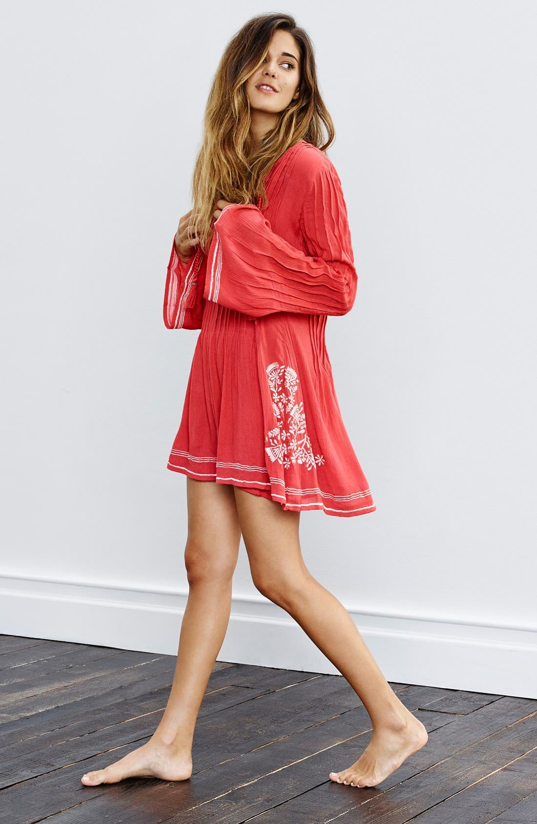 'Audrey' Embroidered Tunic Dress,                             Alternate thumbnail 2, color,                             Watermelon