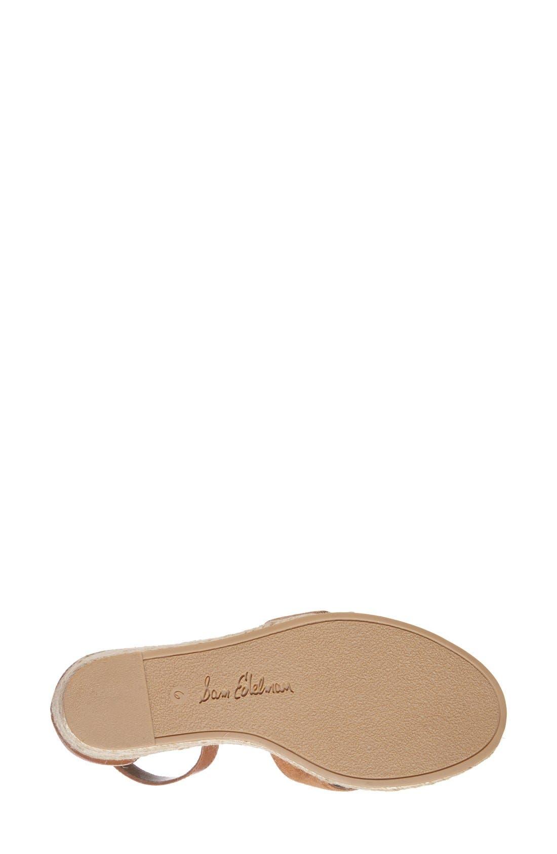 'Brenda' Espadrille Wedge Sandal,                             Alternate thumbnail 4, color,                             Saddle