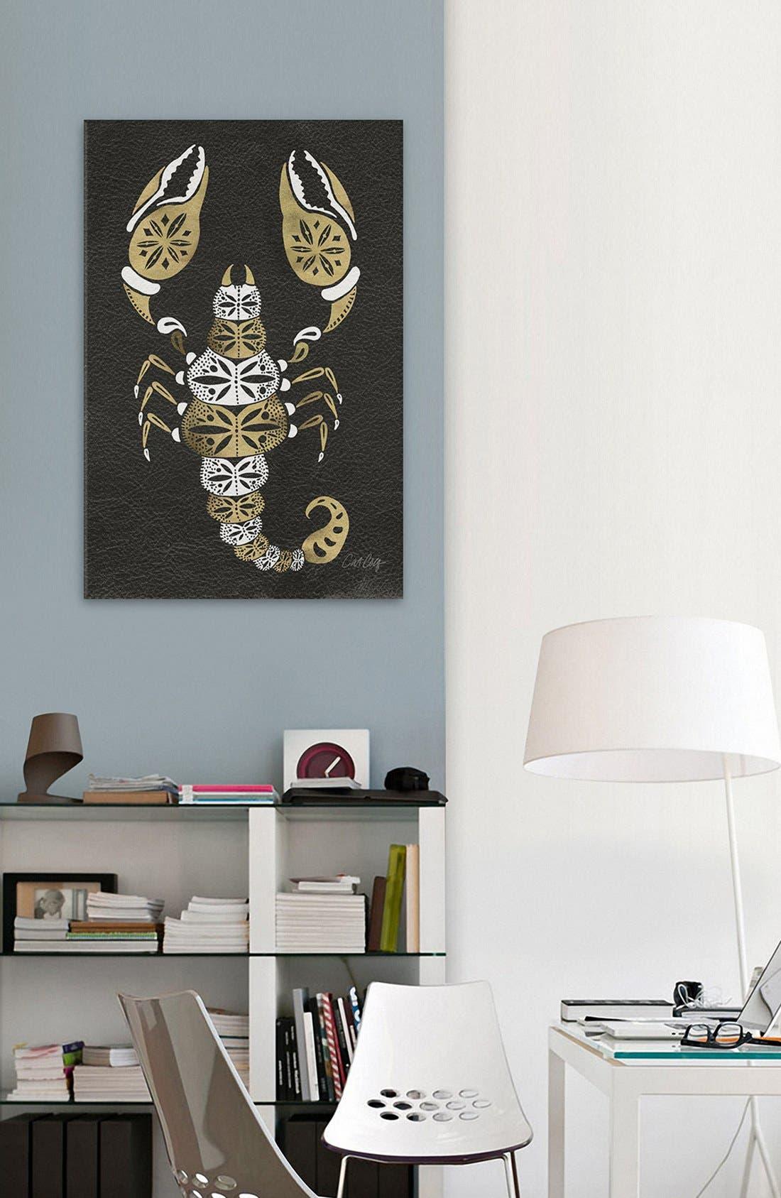'Black & Gold Scorpion' Leather Art Print,                             Alternate thumbnail 2, color,                             Black
