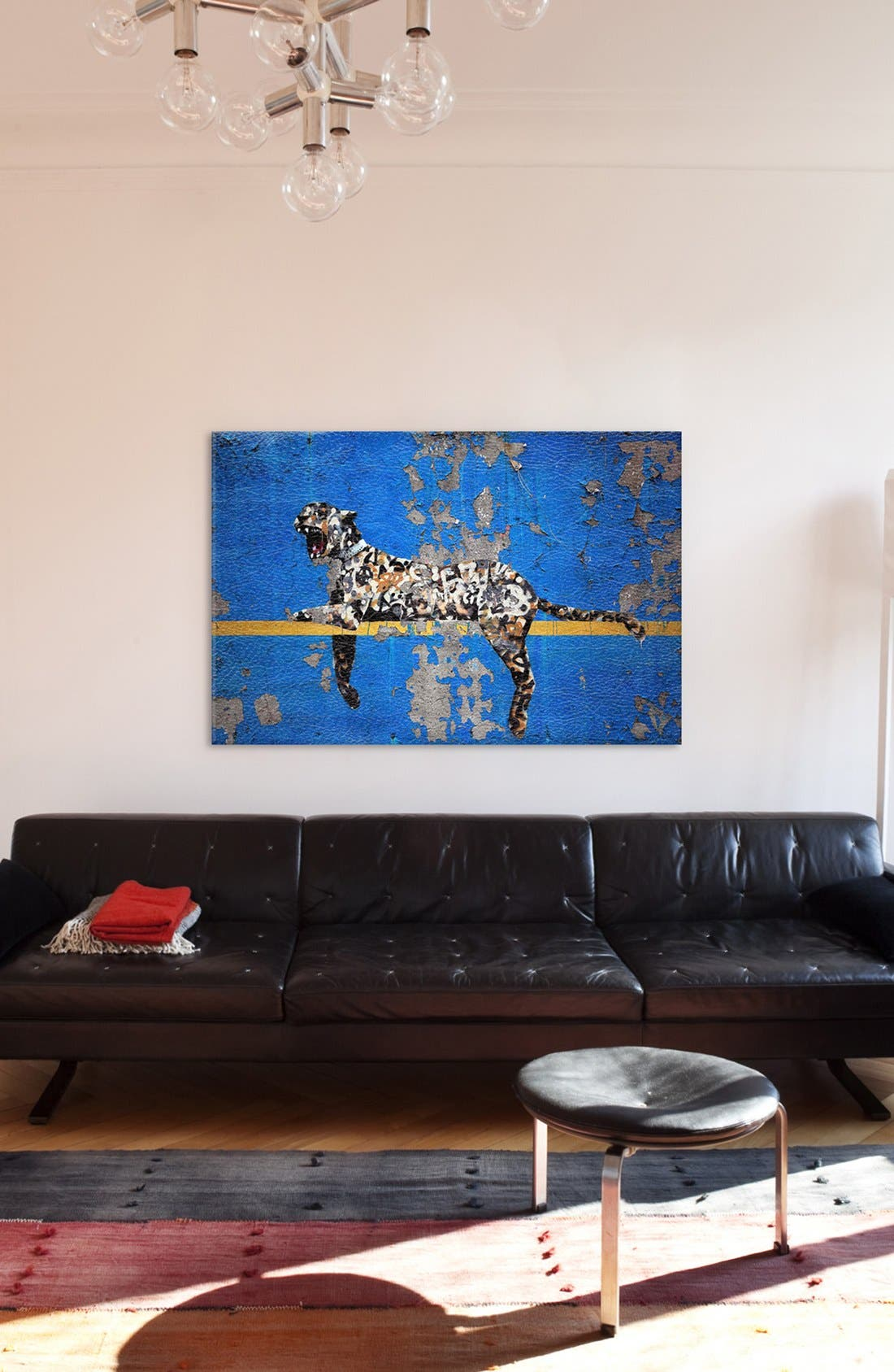 'Yankee Tiger' Leather Art Print,                             Alternate thumbnail 2, color,                             Blue