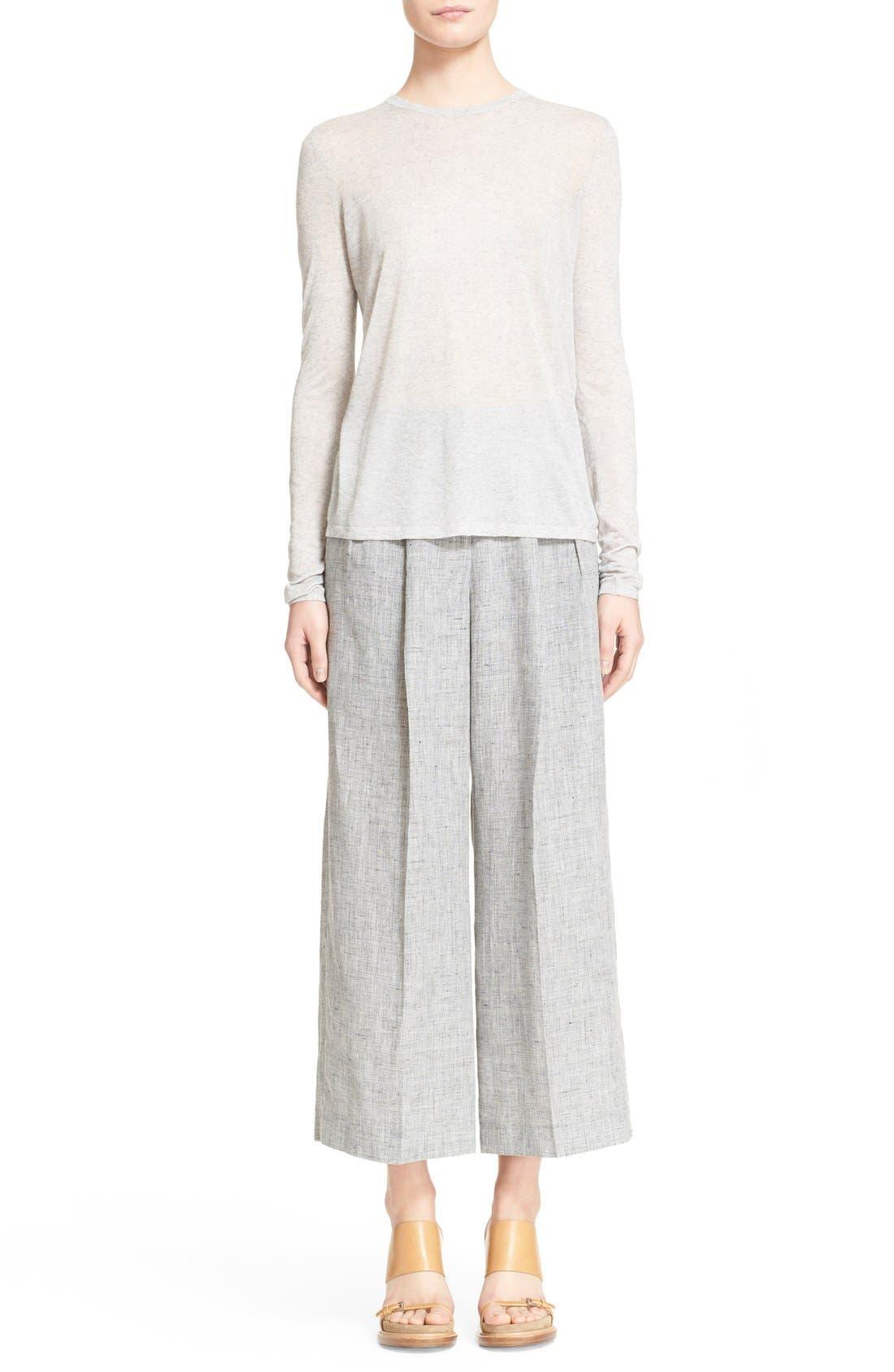 Alternate Image 7  - Michael Kors Pleated Crop Mélange Linen Pants