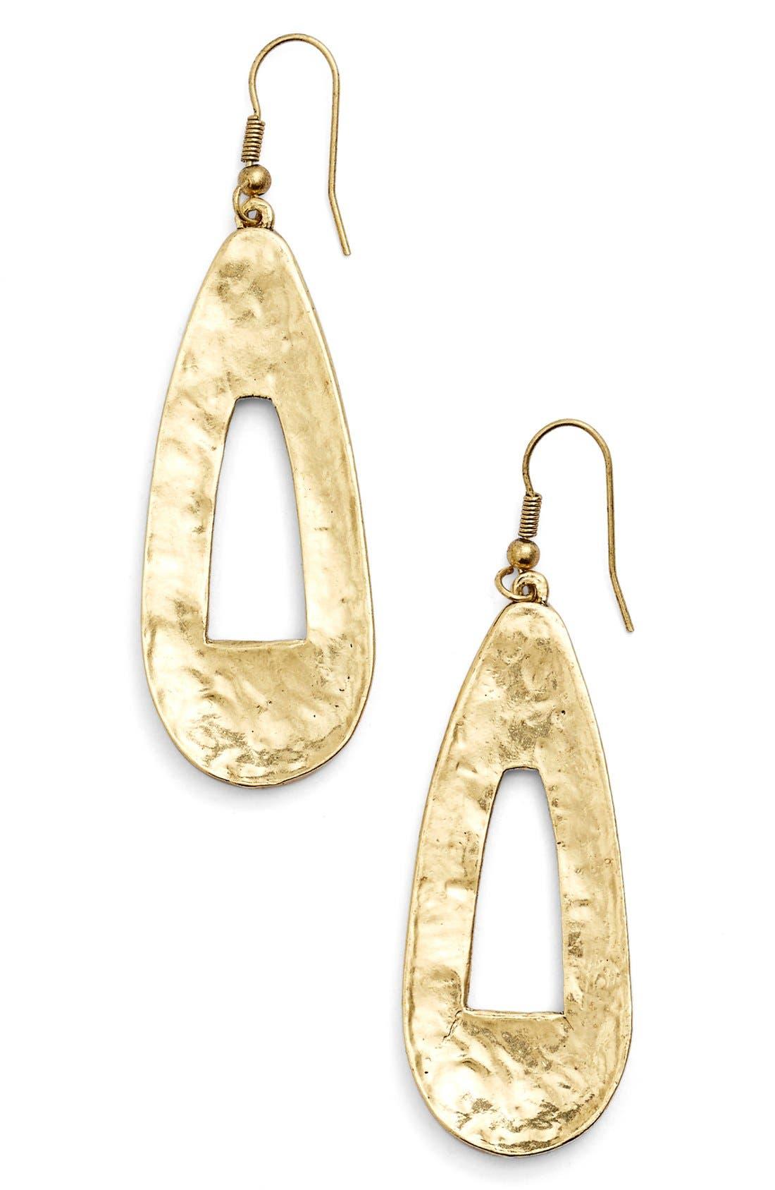 Open Teardrop Earrings,                         Main,                         color, Gold