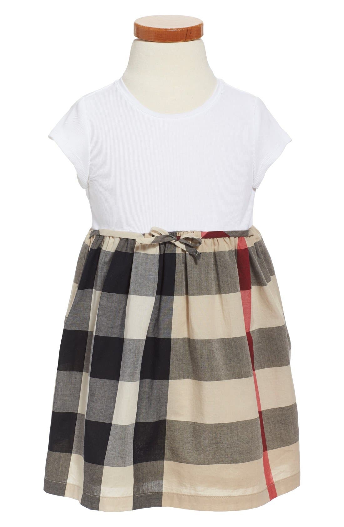 Main Image - Burberry 'Mini Rosey' Check Cotton Dress (Toddler Girls)