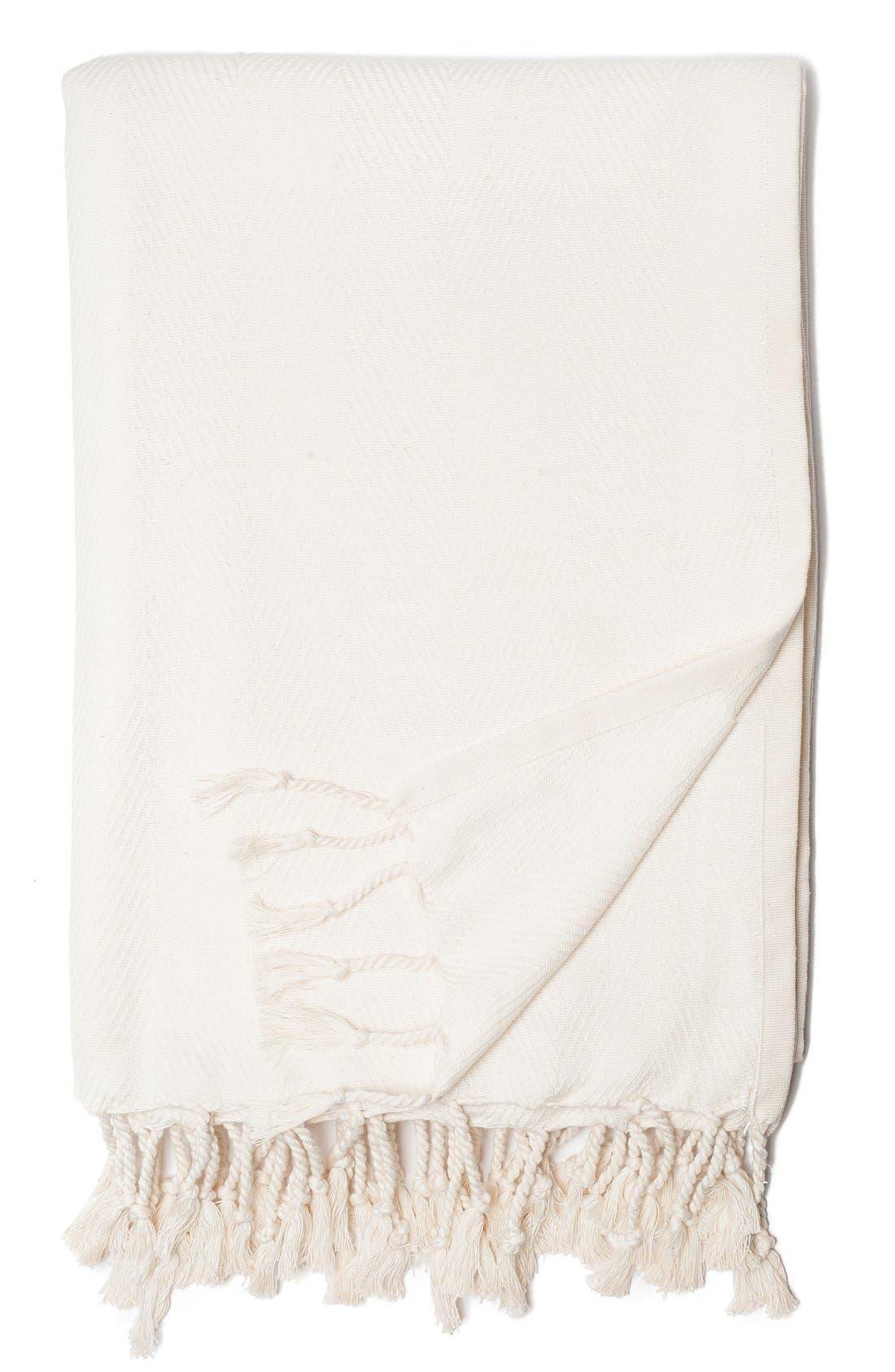 Organic Cotton Throw,                             Main thumbnail 1, color,                             White