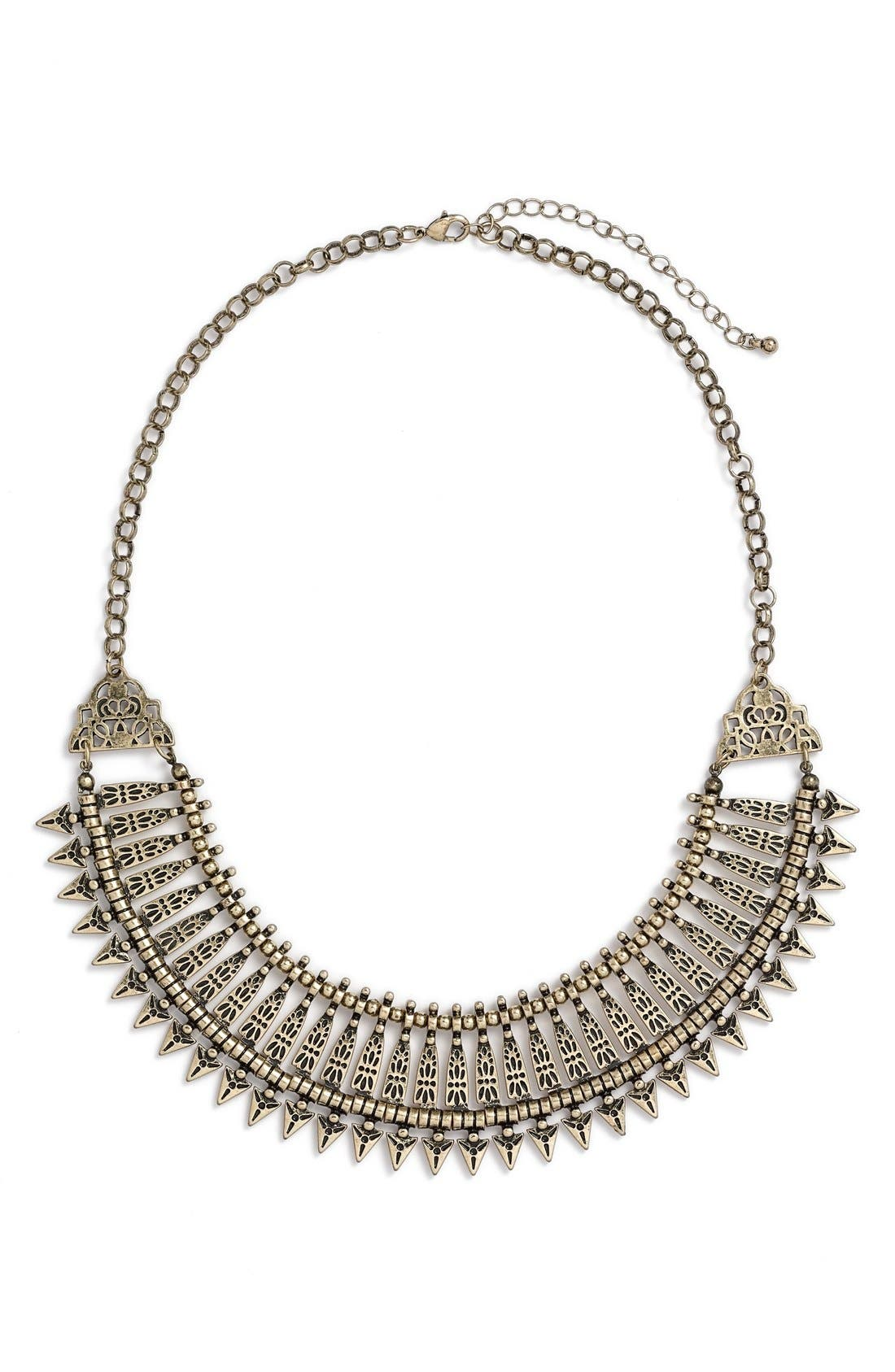 Metal Collar Statement Necklace,                         Main,                         color, Gold Burnished